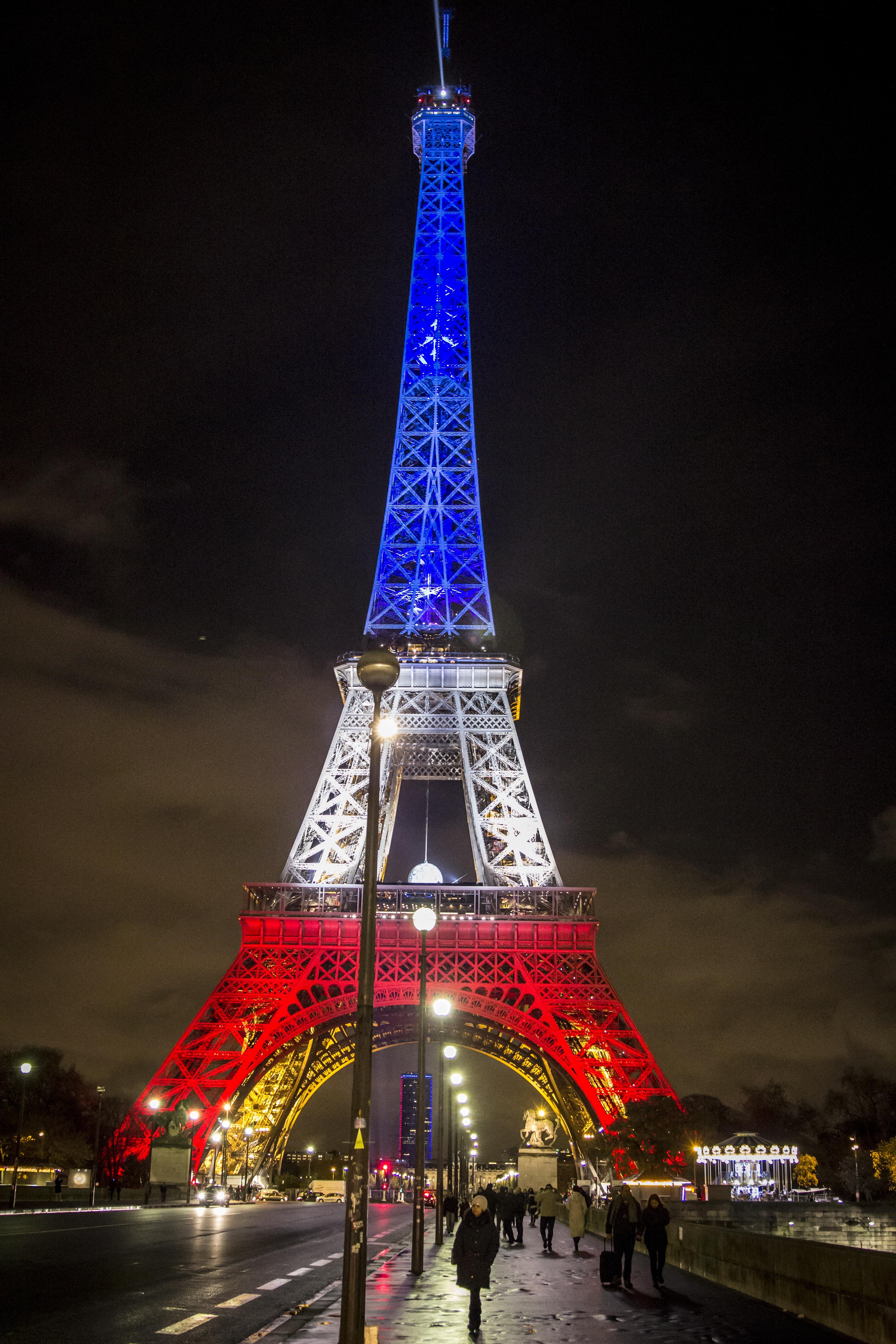light night eiffel tower paris cityscape france europe evening tower flag landmark tourism lighting christmas tree