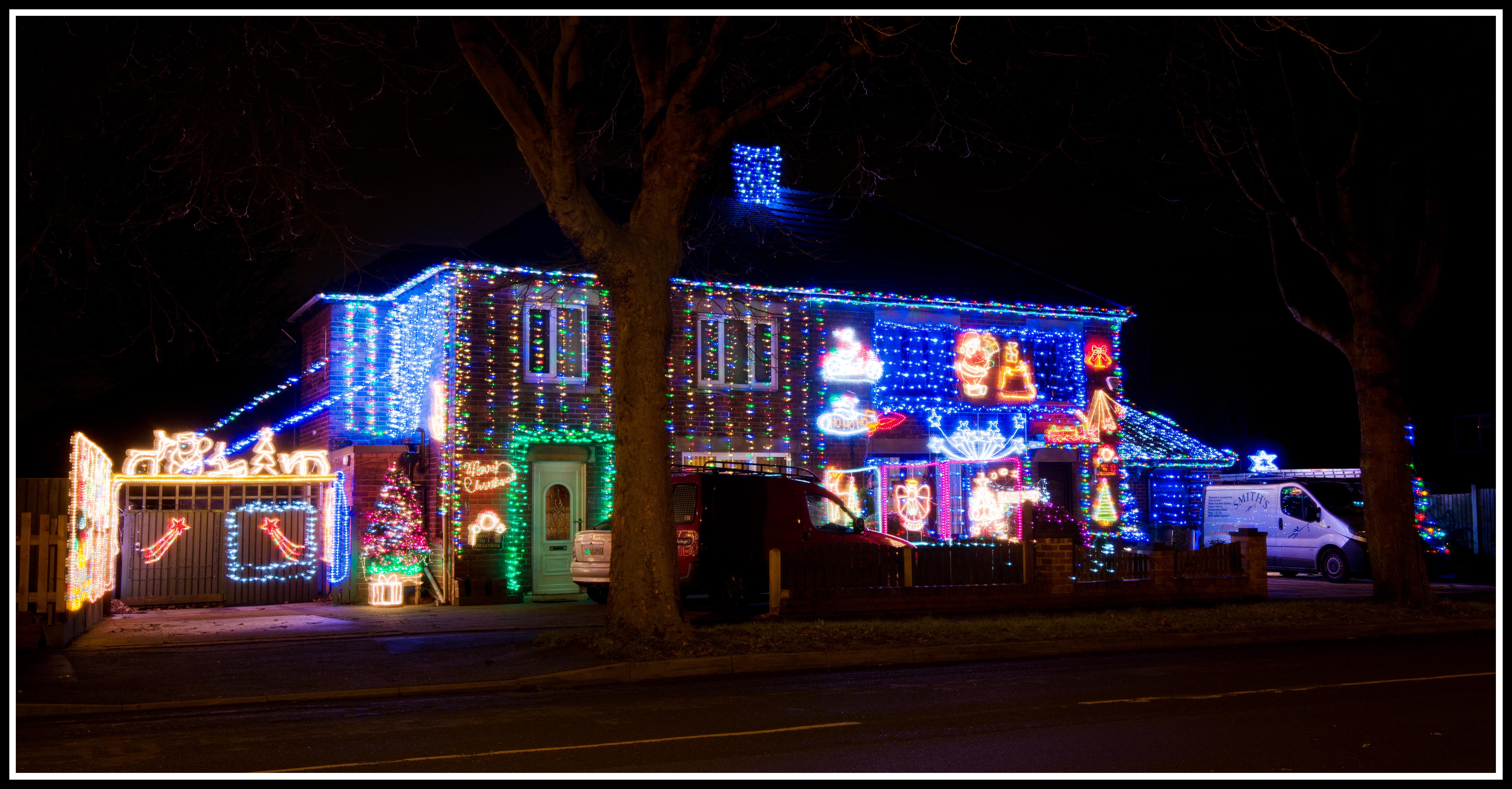 Colorful Christmas Lights On House.Free Images Light Night House Home Religion Nikon