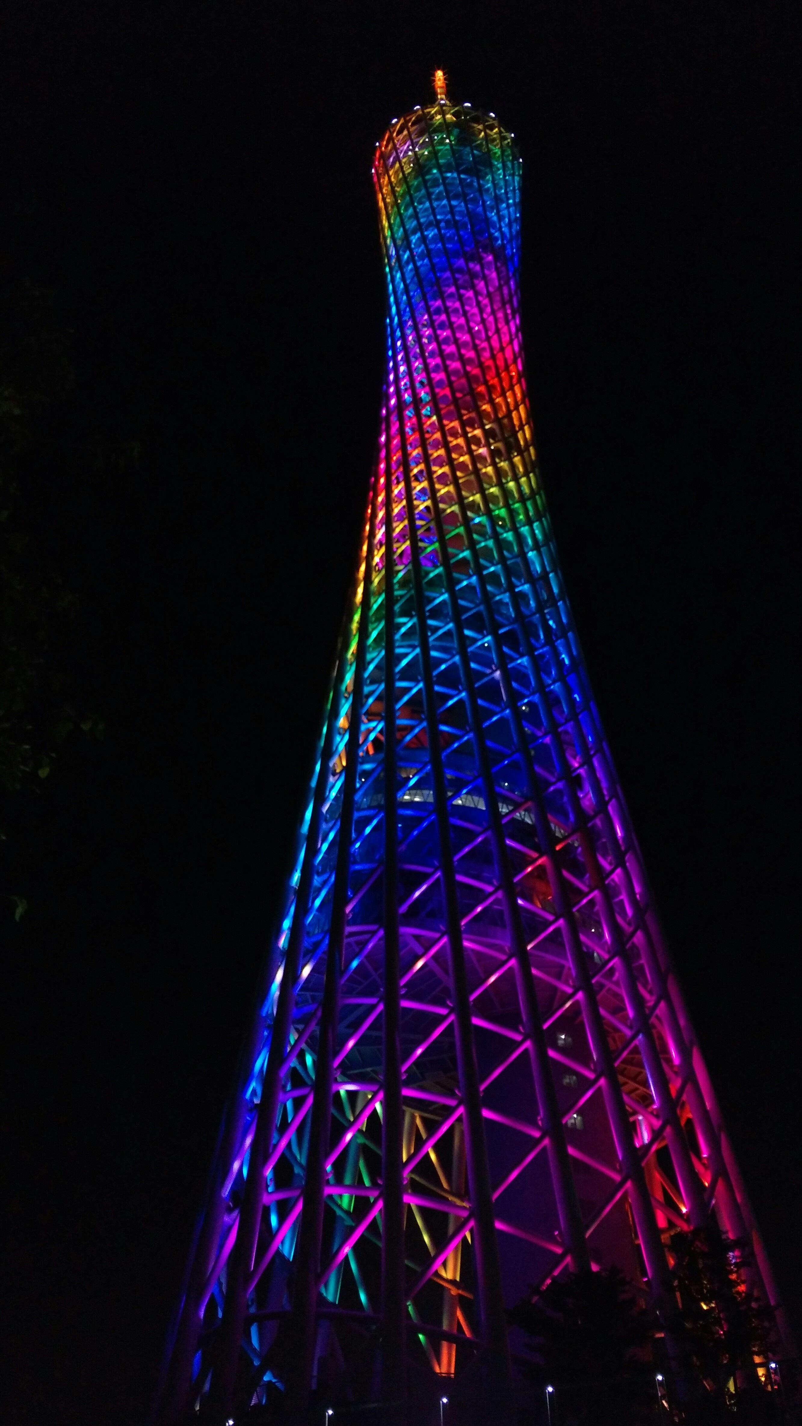 Light Night Tower Blue Lighting Christmas Tree Christmas Decoration Shape  Night View Christmas Lights Canton Tower