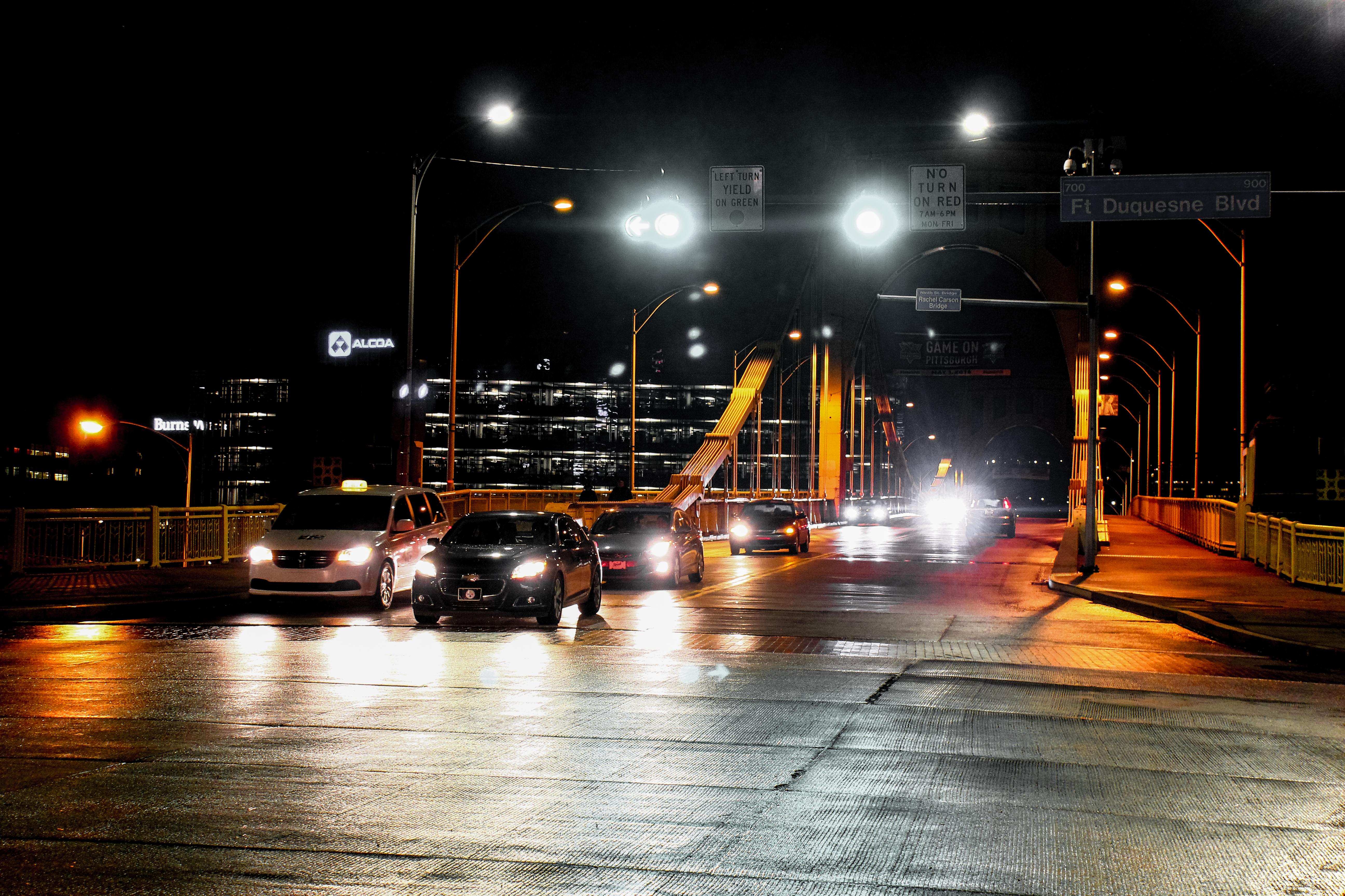 Gambar Cahaya Jembatan Pemandangan Kota Kegelapan Lampu Jalan