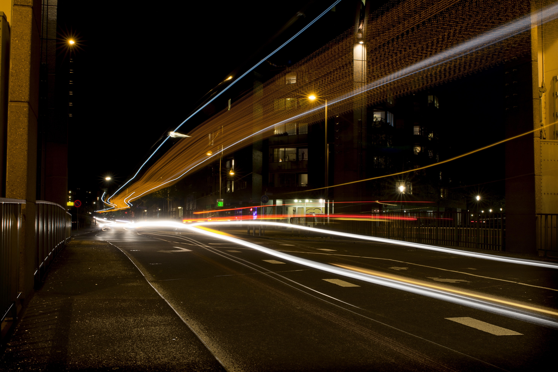 Gratis Afbeeldingen : licht, weg, brug, verkeer, auto, nacht ...