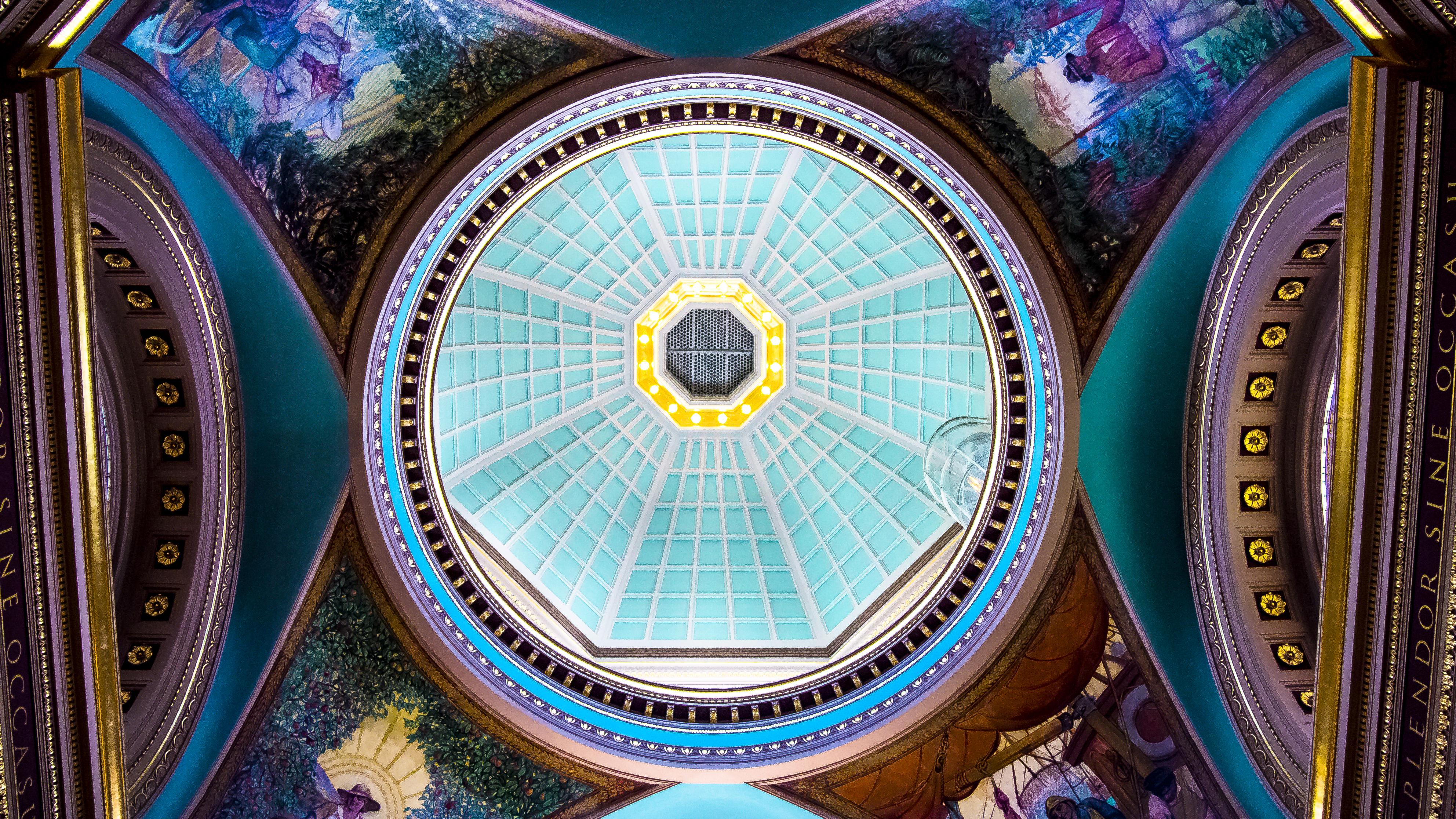 Fotoğraf ışık Yuvarlak Iç çatı Bina Tavan Desen Geometrik