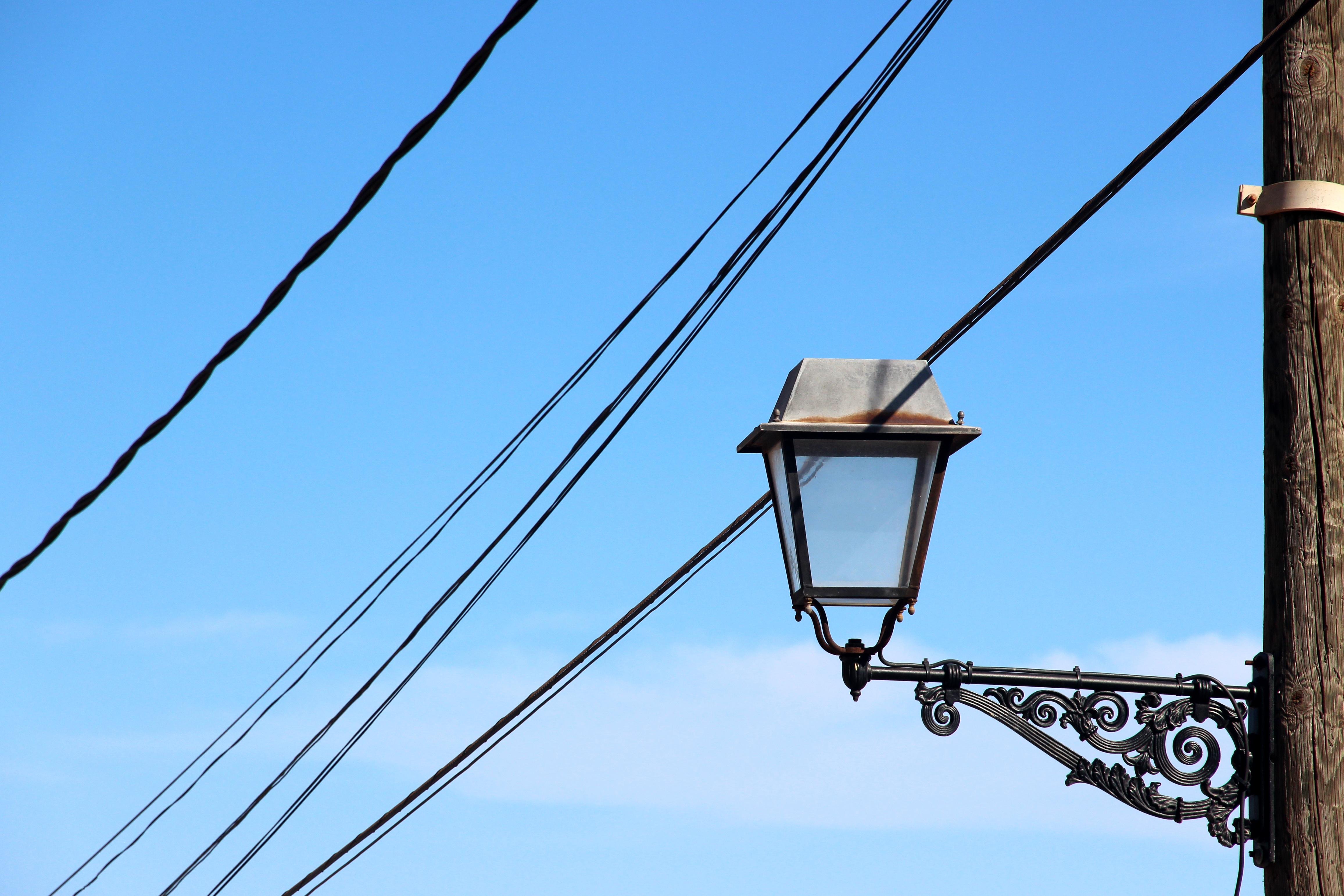 Light Sky Line Lantern Tower Mast Metal Blue Street Lamp Electricity Lighting