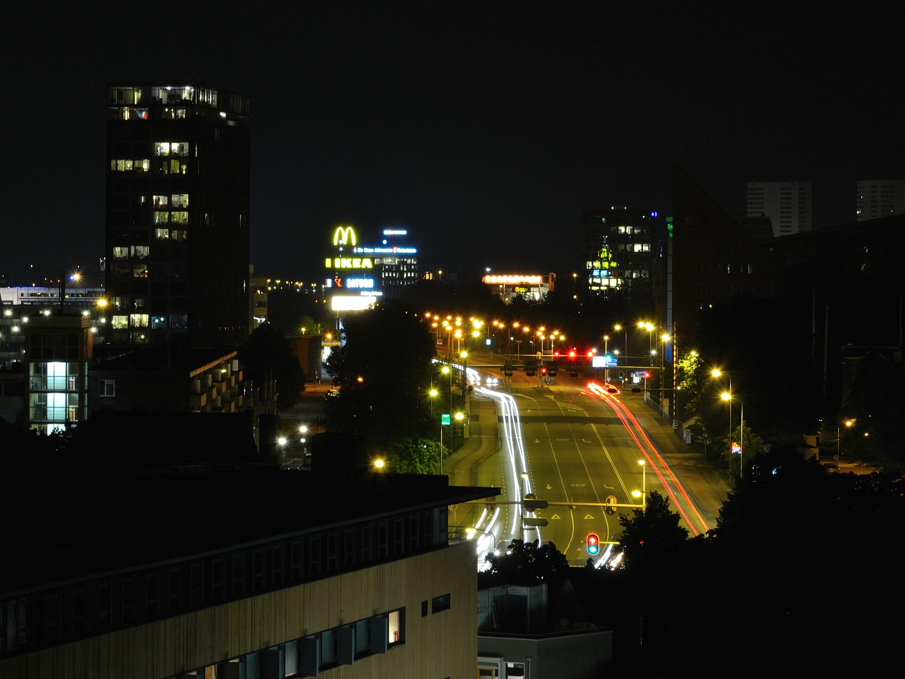 licht horizon nacht stad wolkenkrabber stadsgezicht downtown schemer avond duisternis verlichting holland lange blootstelling groningen metropolis