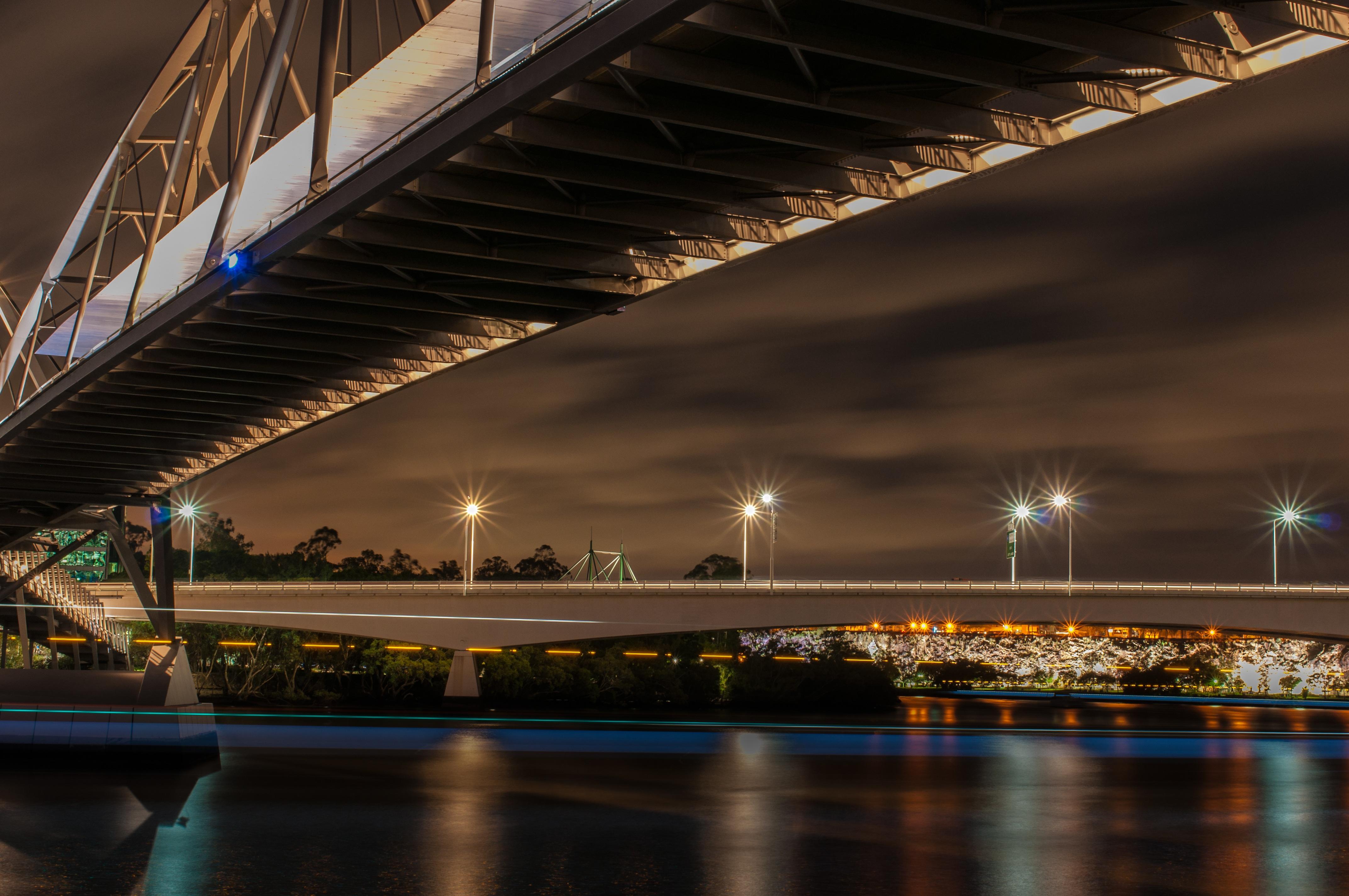 Free Images : light, skyline, night, city, river, overpass ...