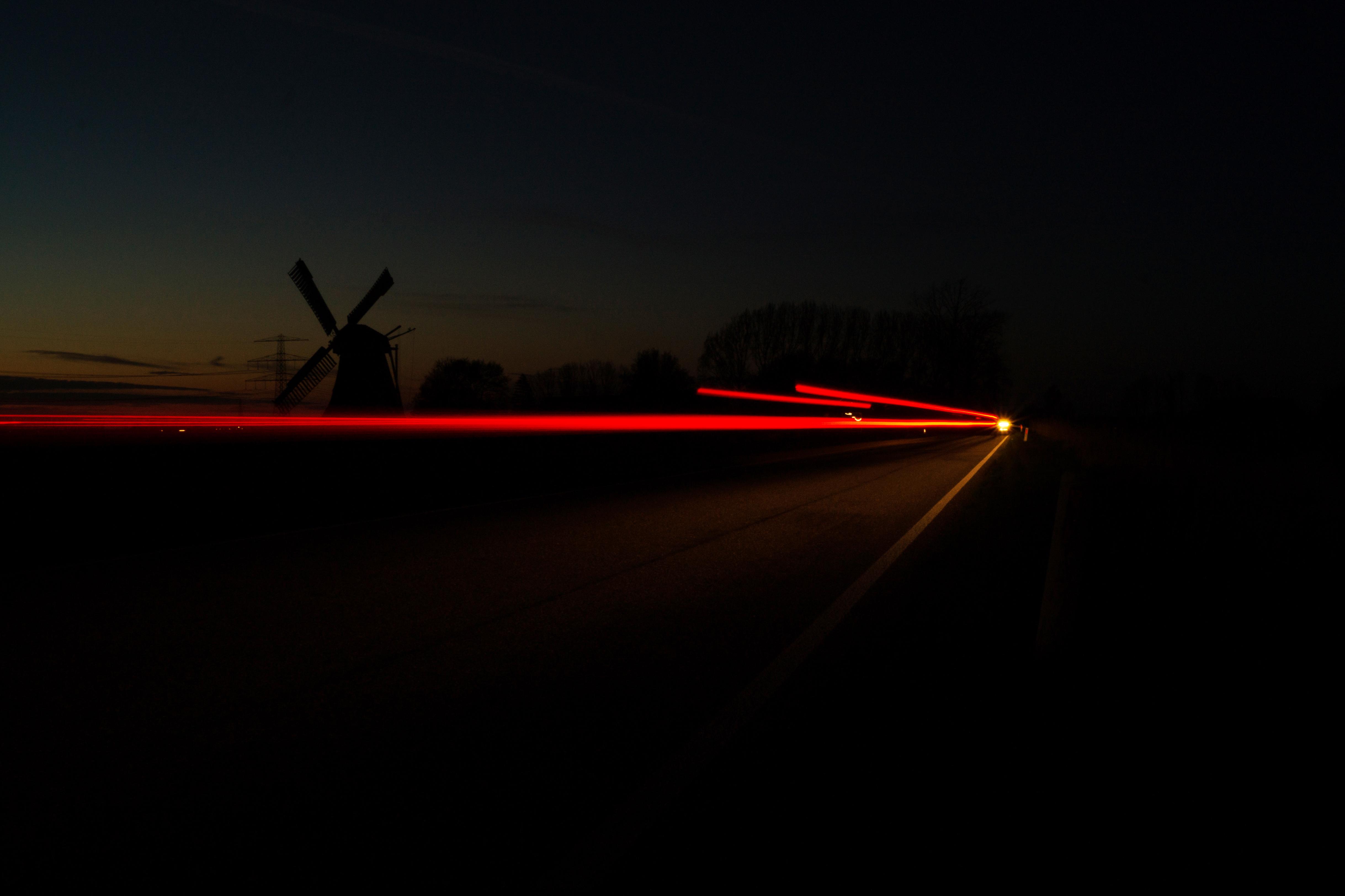 light sunrise sunset night windmill dawn dark dusk evening line darkness lighting long exposure shape car & Free Images : light sunrise sunset night windmill dawn dark ...