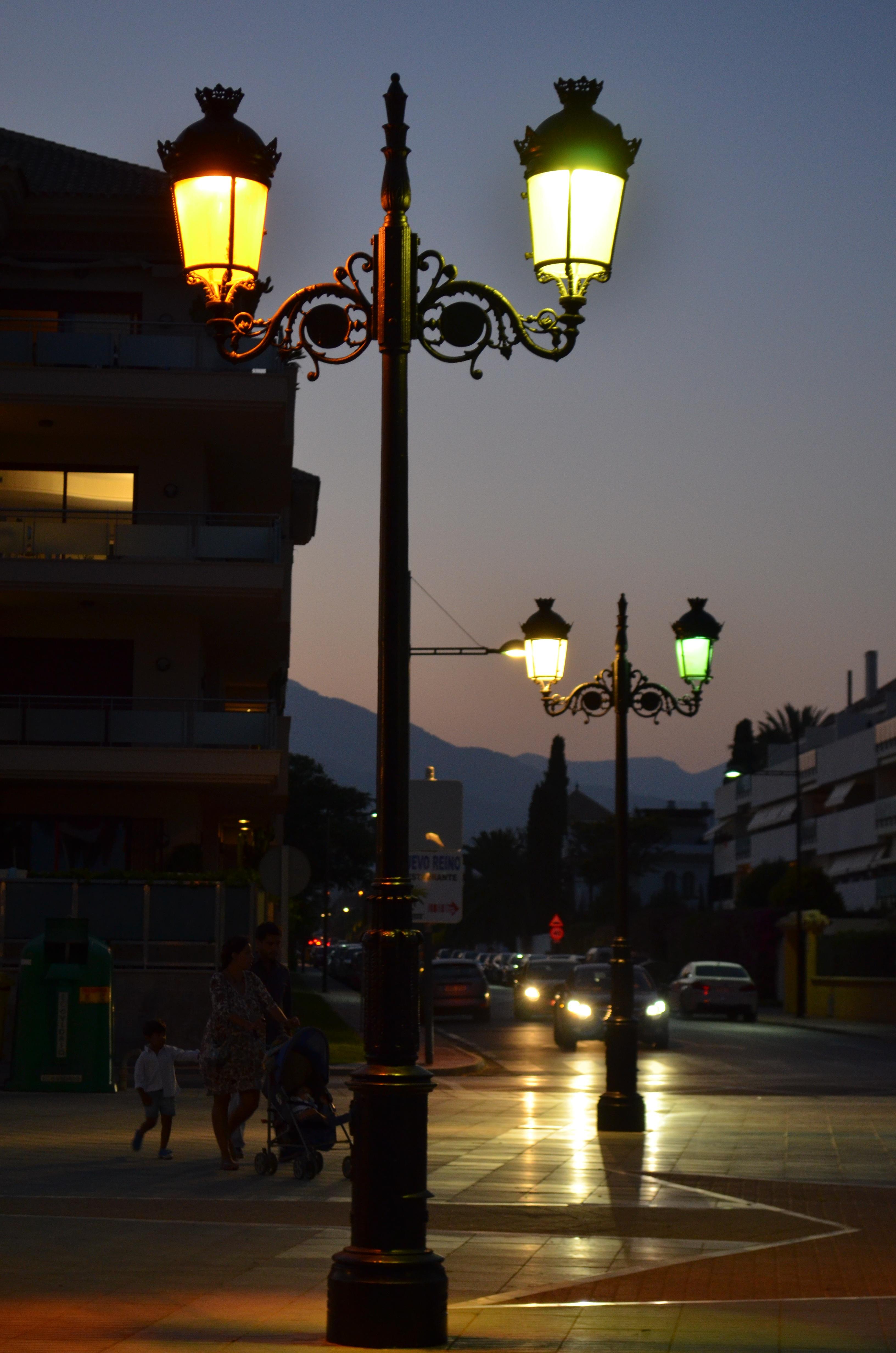 Light Sunset Night Dusk Evening Twilight Lantern Street Lamp Lighting Decor Traffic