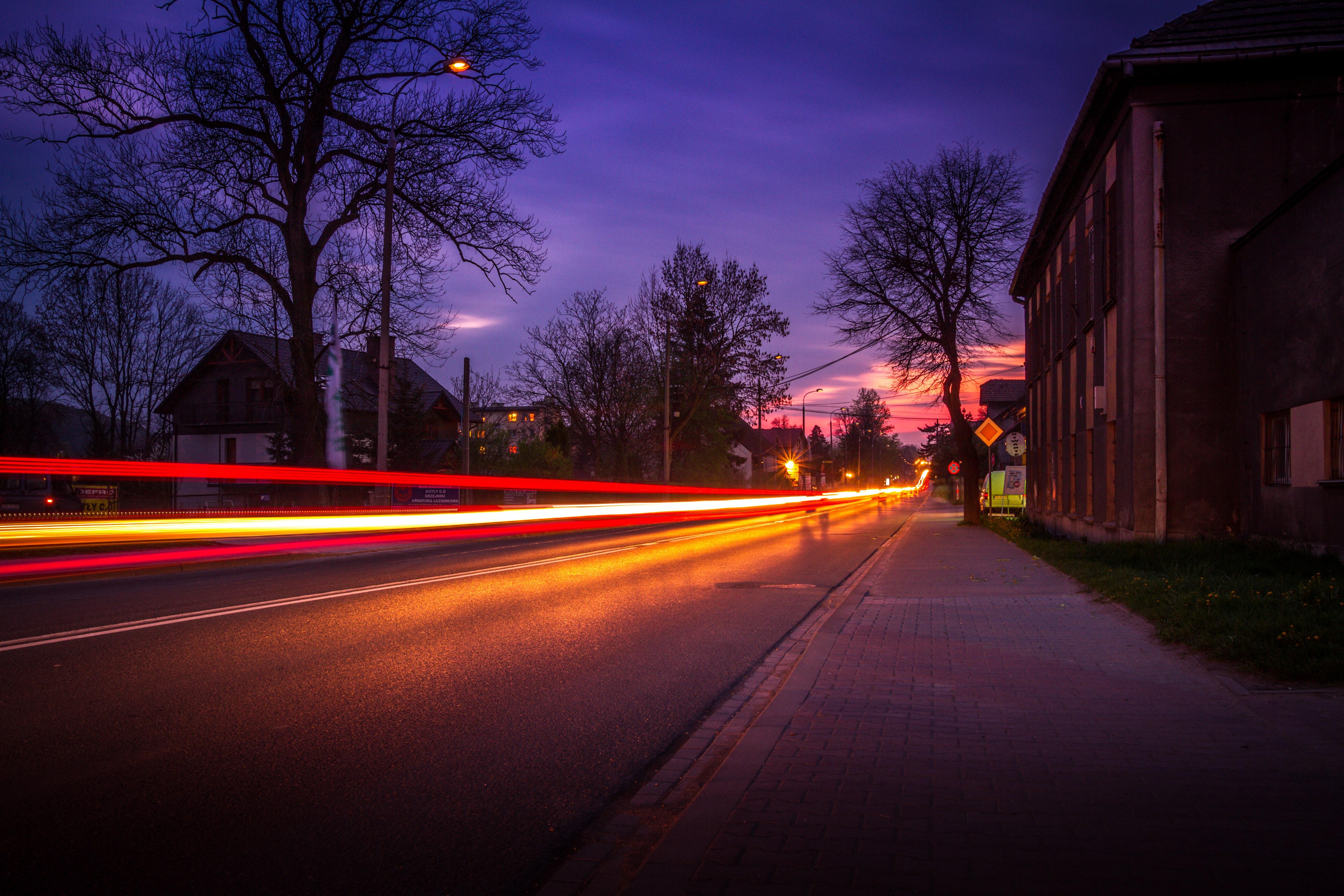 free images sunset road traffic morning