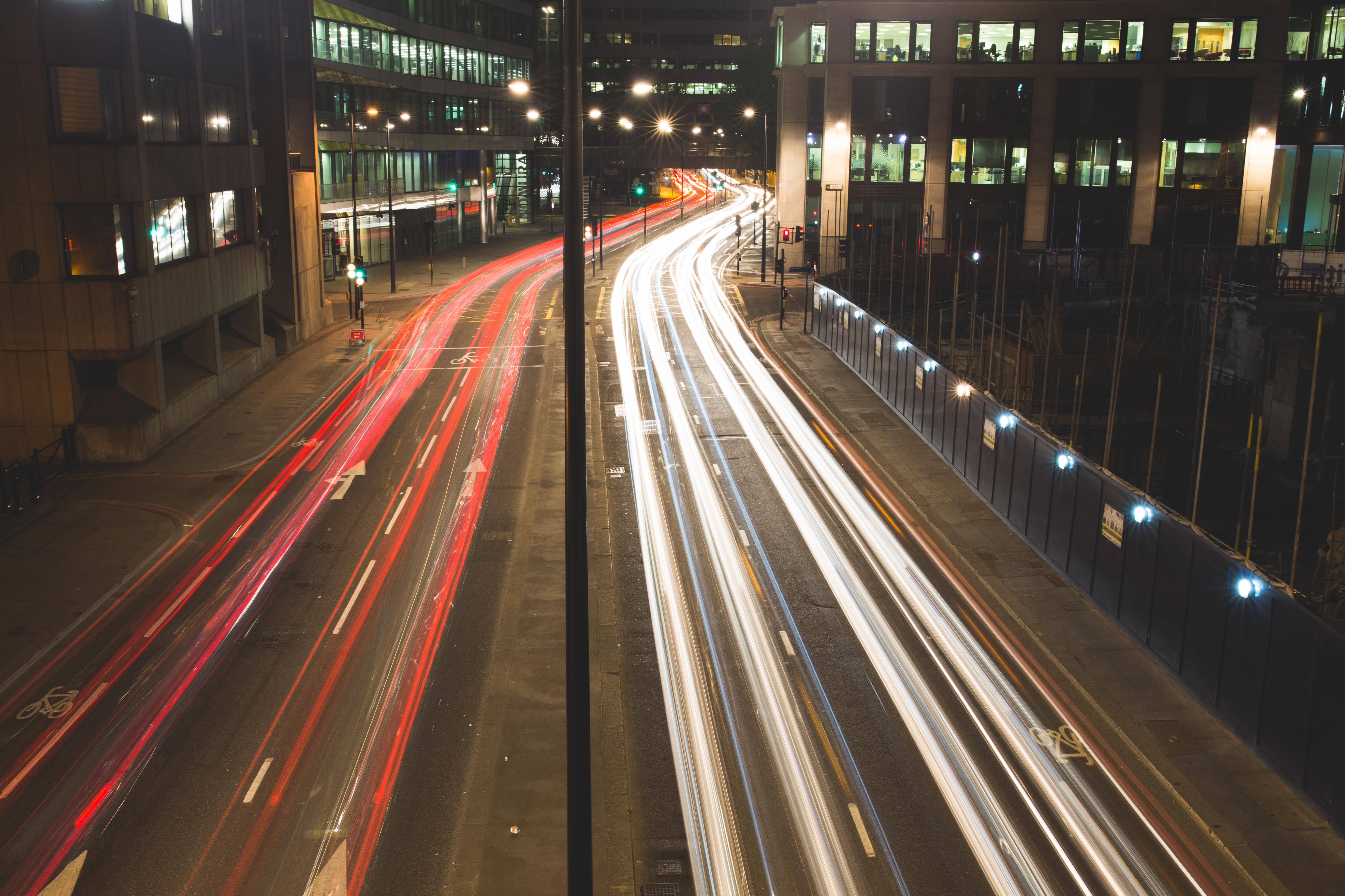 Fotoğraf ışık Iz Yol Sokak Gece Karayolu üst Geçit
