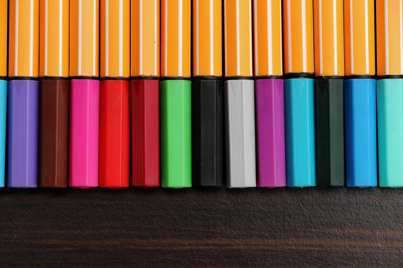 Gambar Garis Cat Warna Warni Lukisan Seni Pelukis Pulpen Bolpoint Seri Bentuk Meninggalkan Pensil