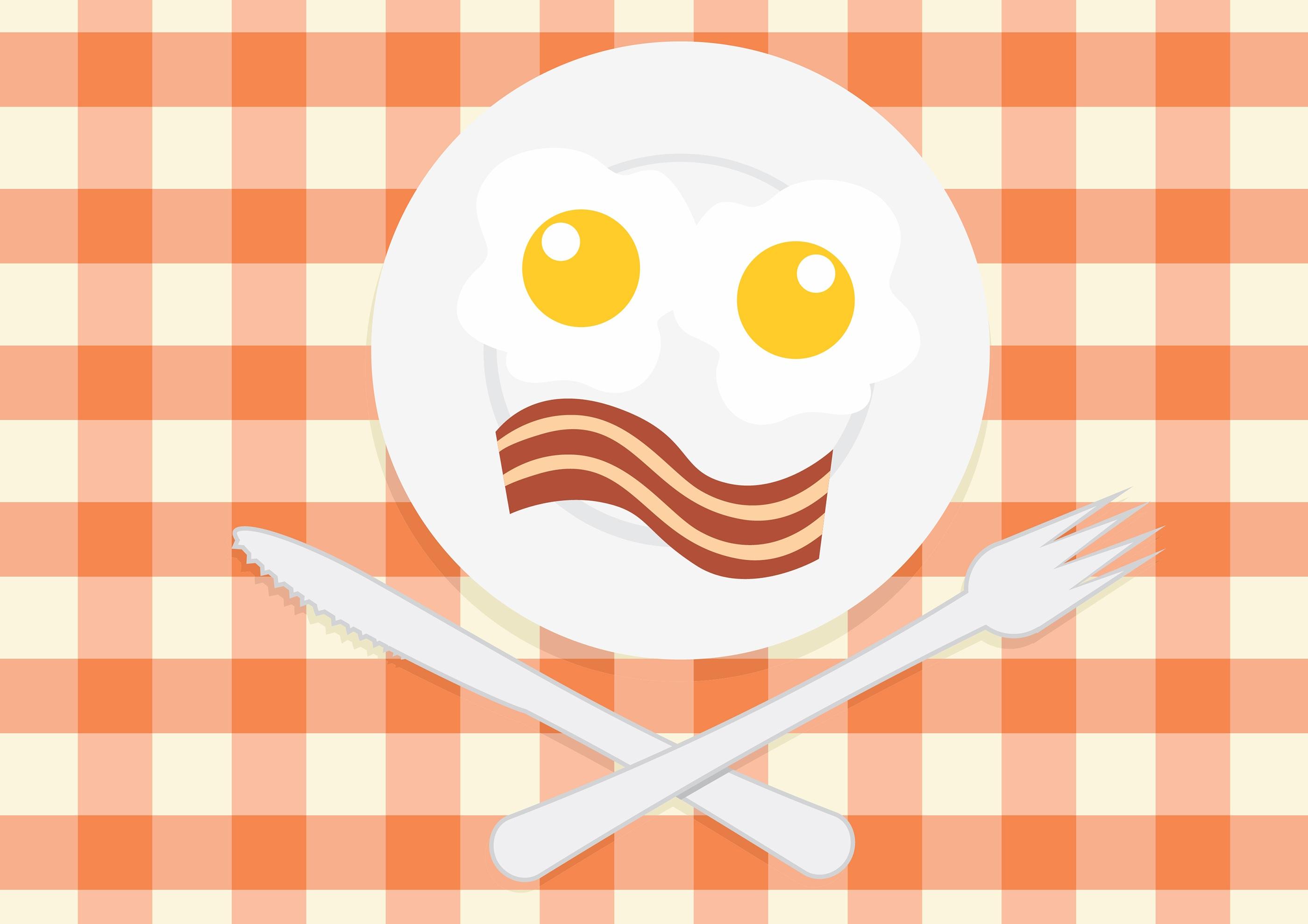 Gambar Garis Makanan Piring Makan Siang Fon Ilustrasi Icon