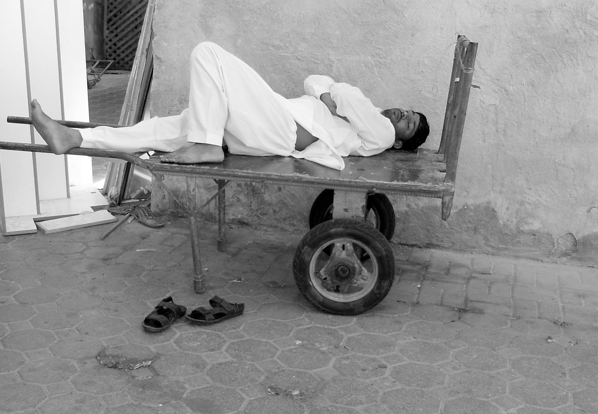 Free man black and white chair sitting dubai rest