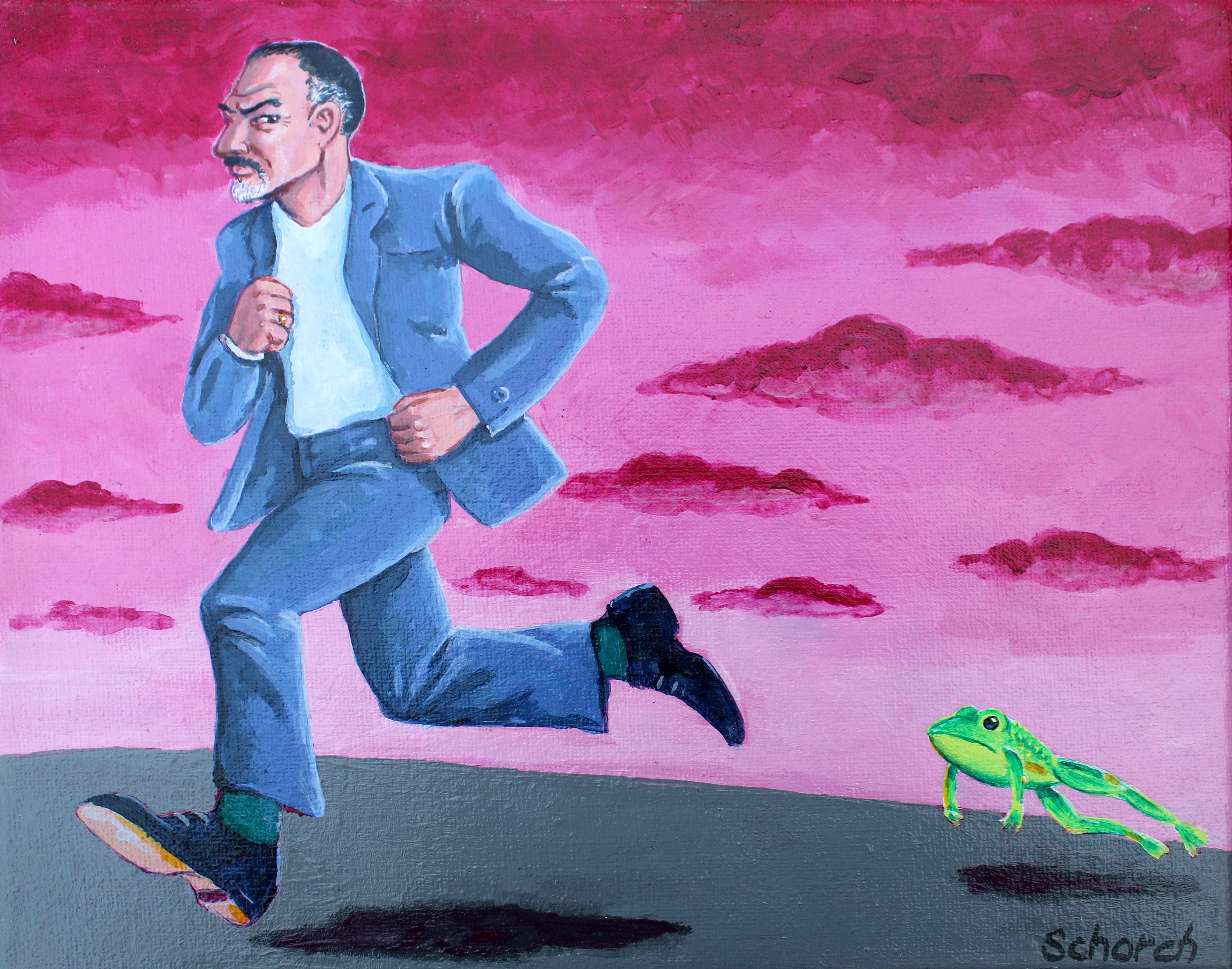 Gambar Manusia Melarikan Diri Warna Kelinci Lukisan Seni