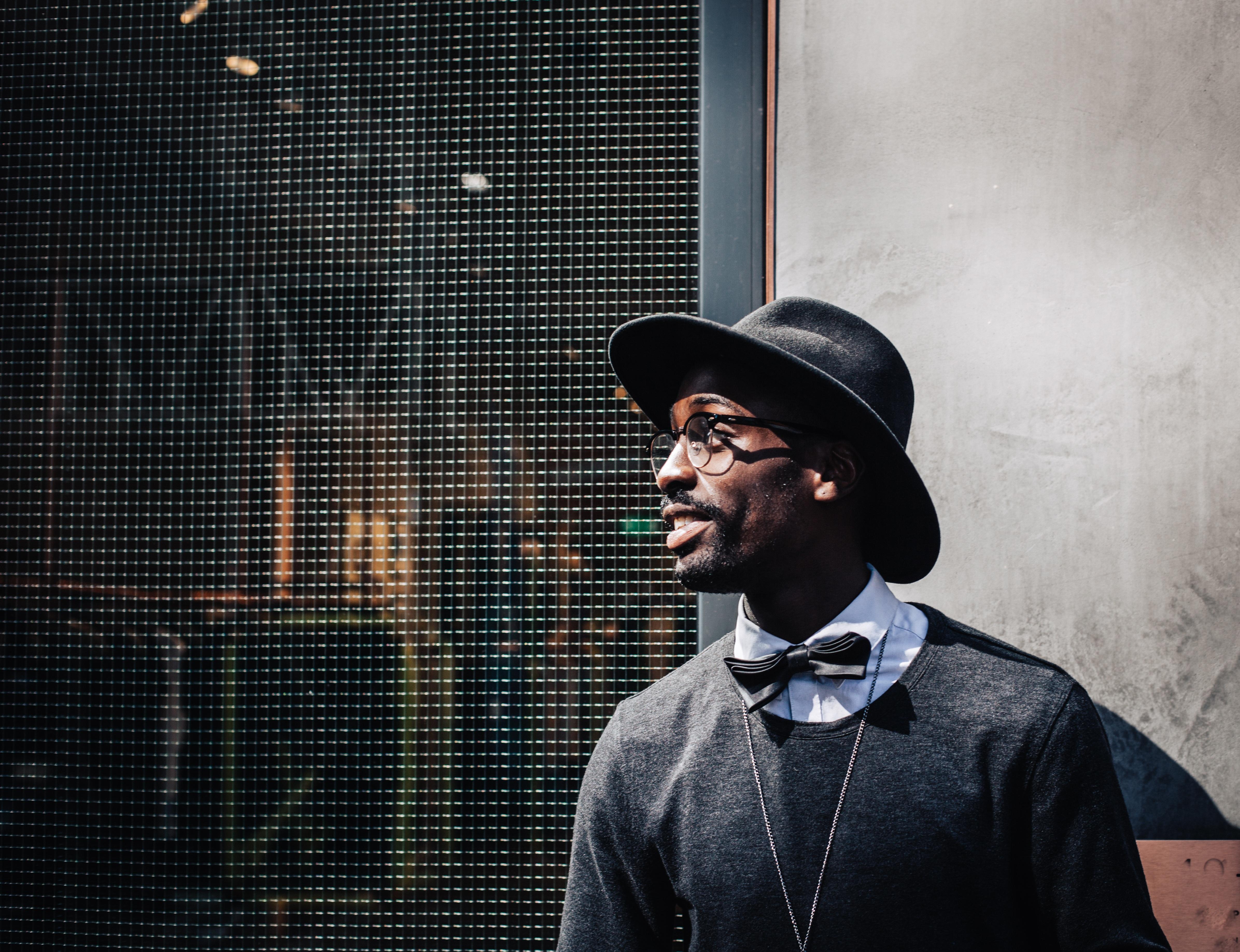 man person music wall color hat fashion blue black smile eyeglasses  photograph fedora 1f58e2136e89