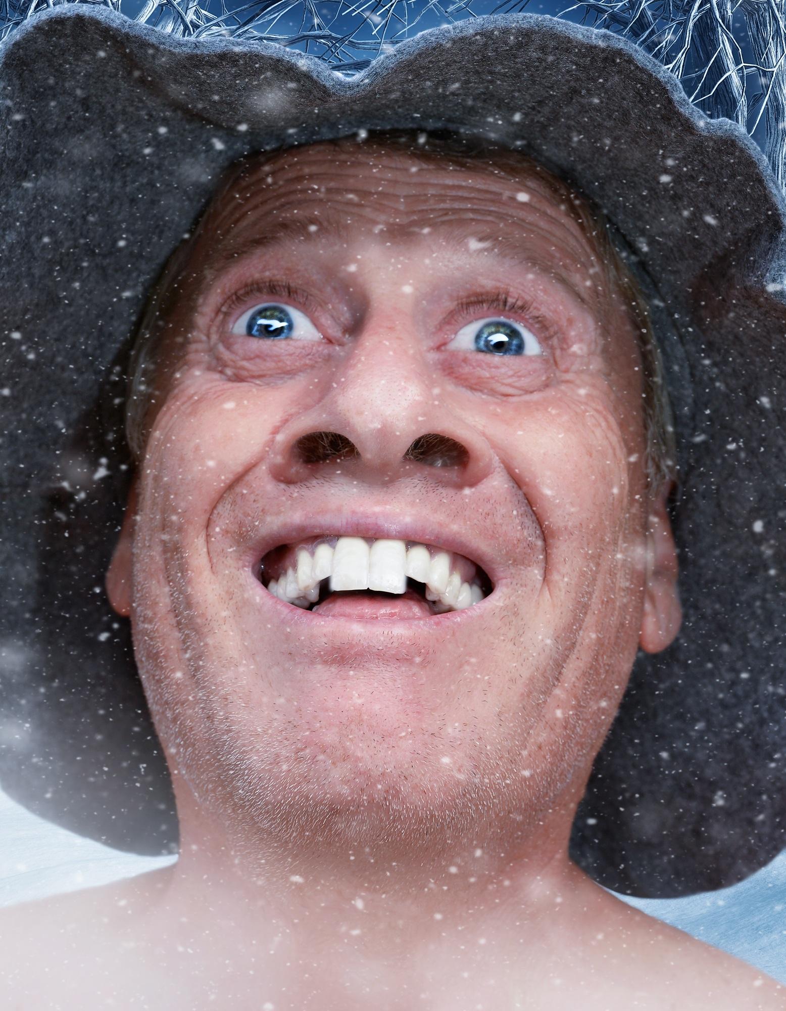 Gambar Orang Musim Dingin Rambut Pria Potret Anak Biru