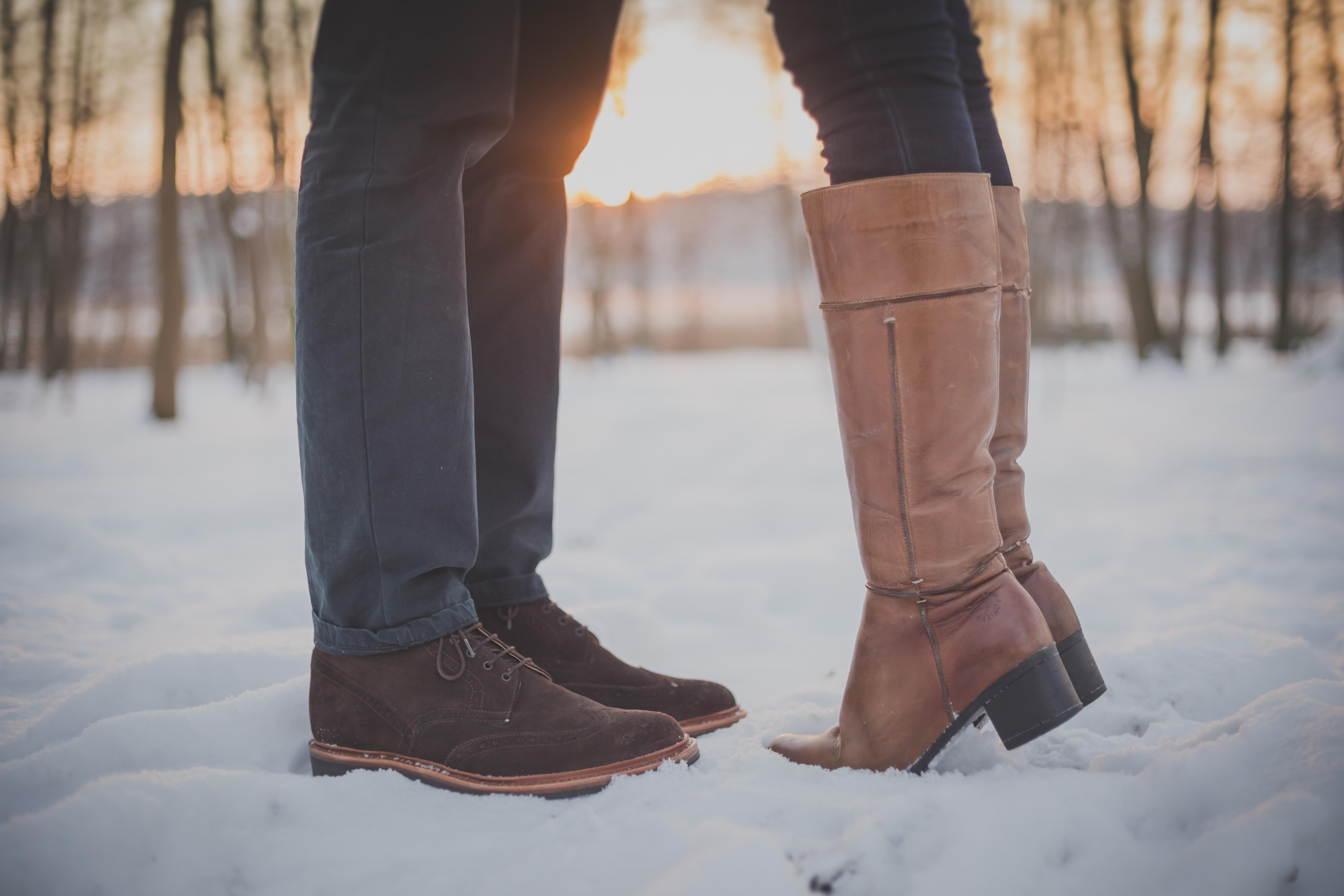 man, shoe, snow, winter, sunset, feet