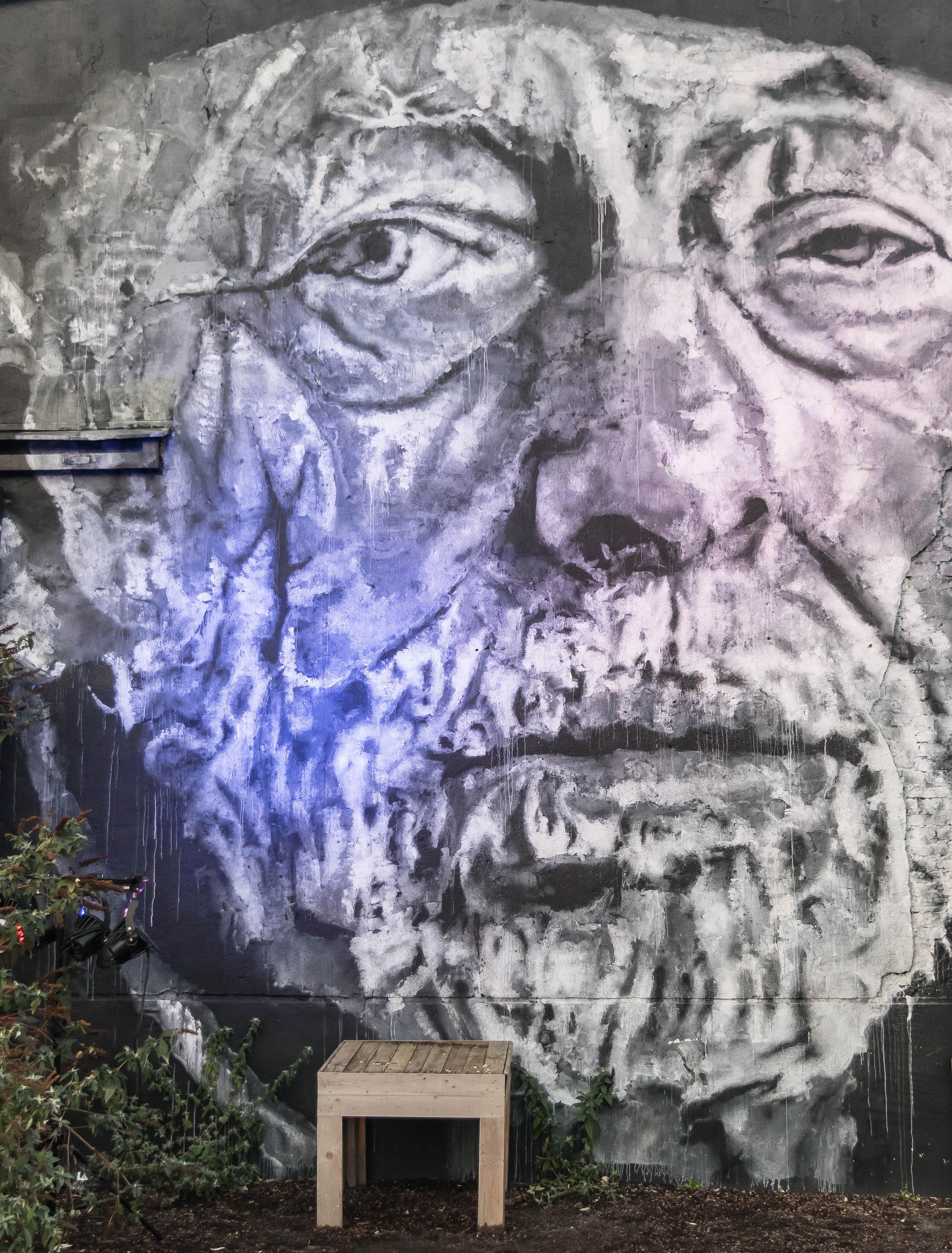 Fotoğraf Duvar Portre Cephe Yaşlı Adam Boyama Sokak Sanatı