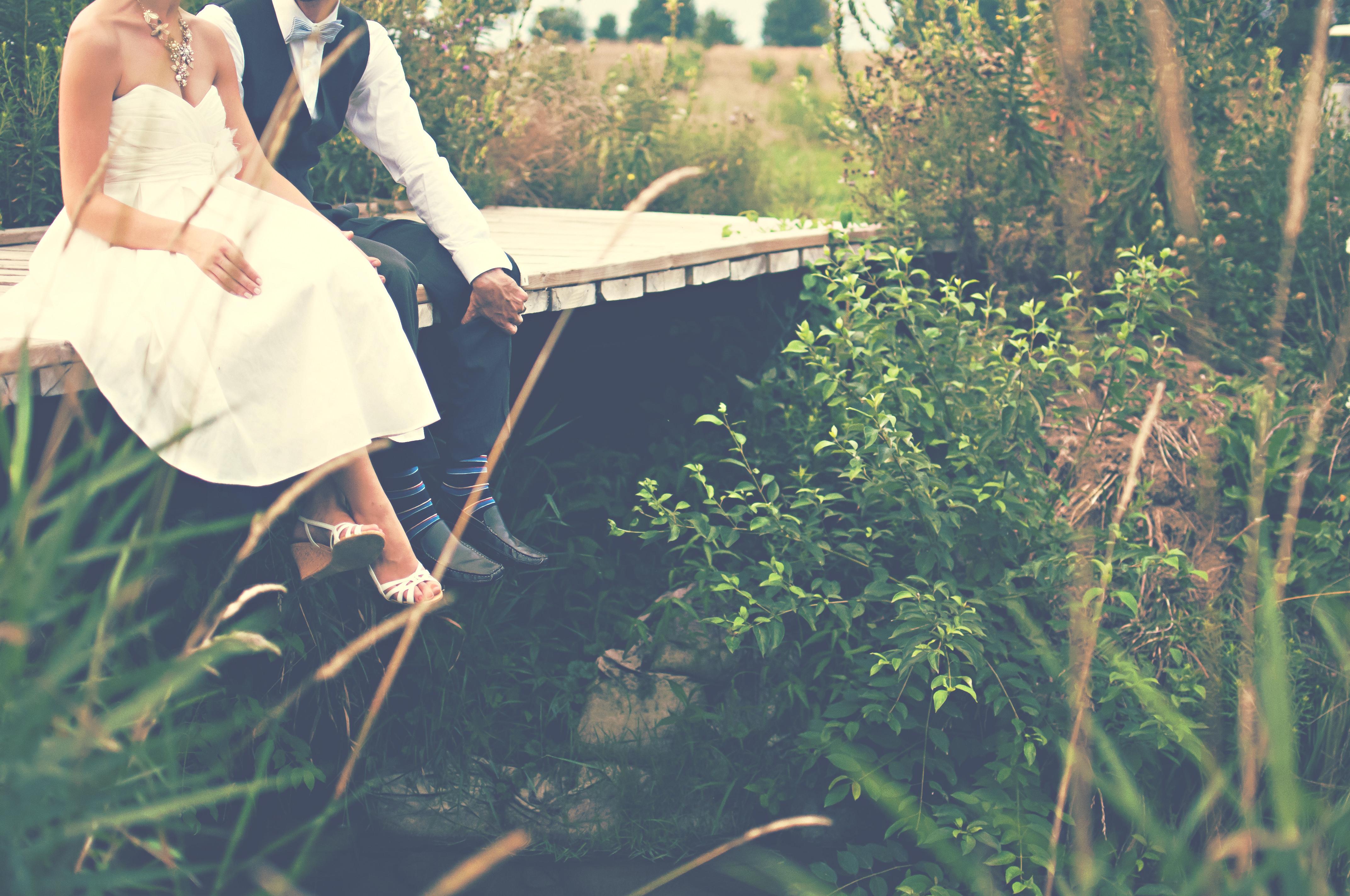 Man Water Gr People Woman Bridge Sunlight Flower Love Green Sitting Wedding Dress Bride