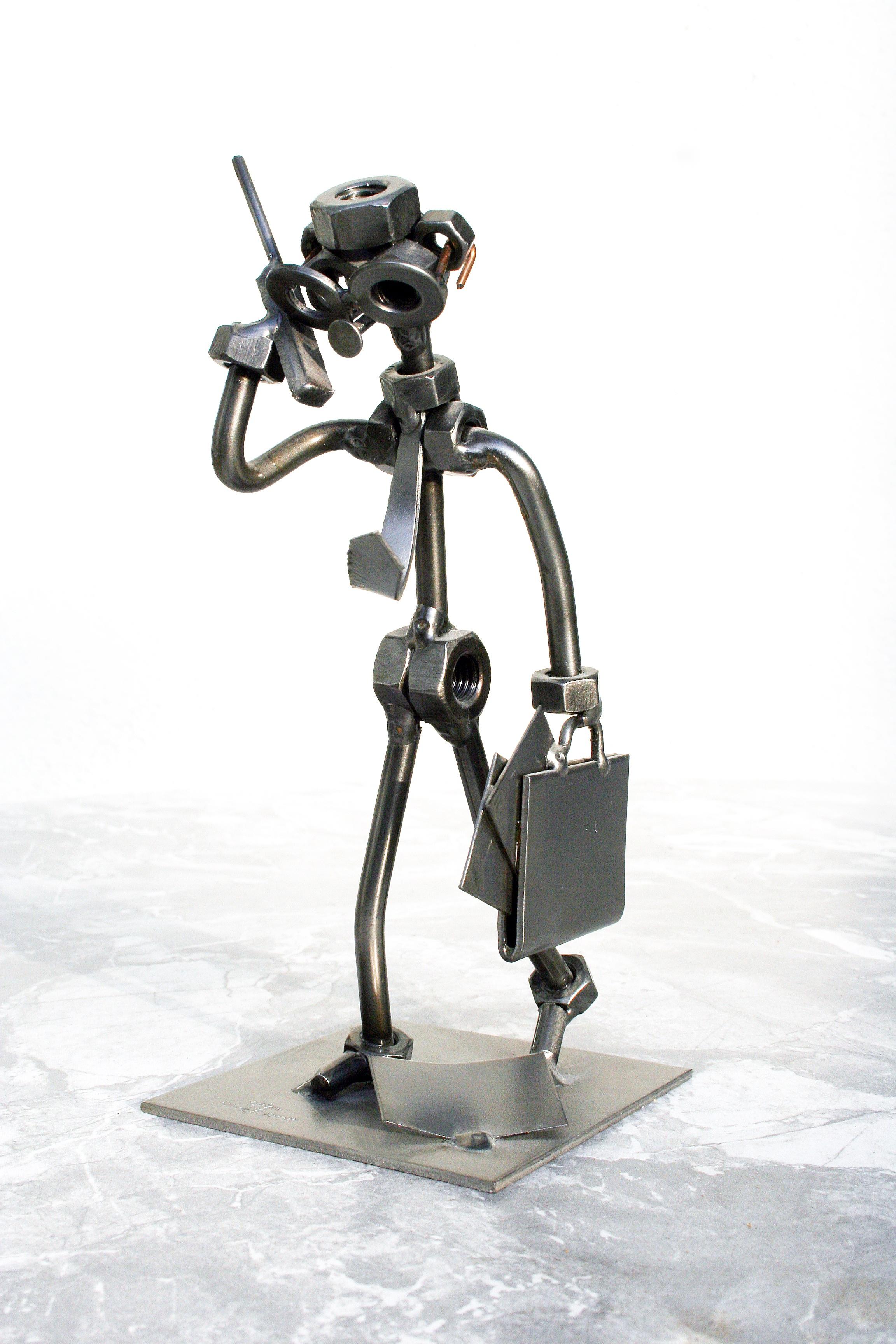 Gambar Manusia Kawat Komunikasi Mesin Bisnis Mainan Telepon Koleksi Anak Genggam Patung Arca Robot Action Figure