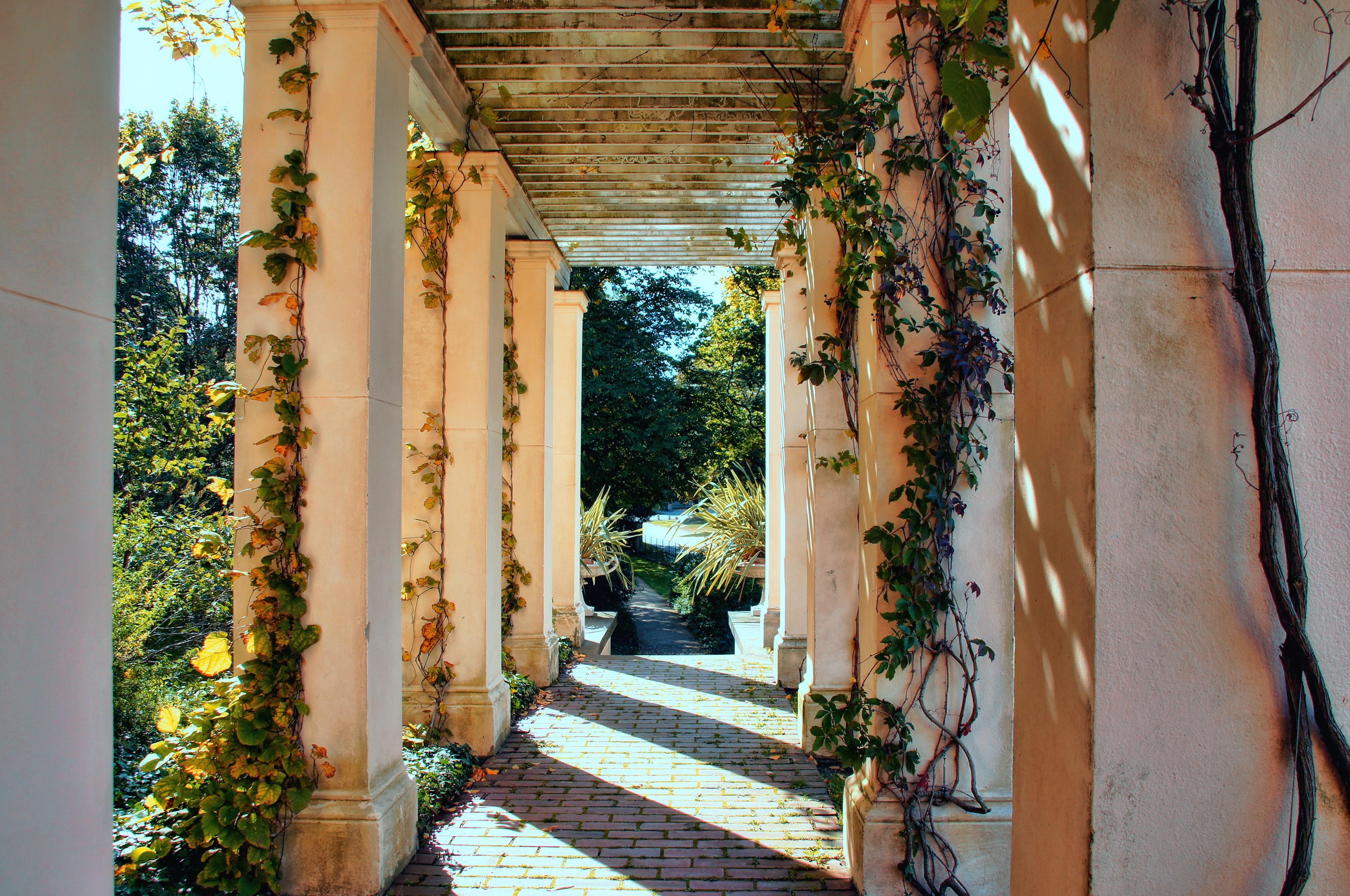Gambar Rumah Besar Jendela Gang Lengkungan Ivy Bunga Bunga