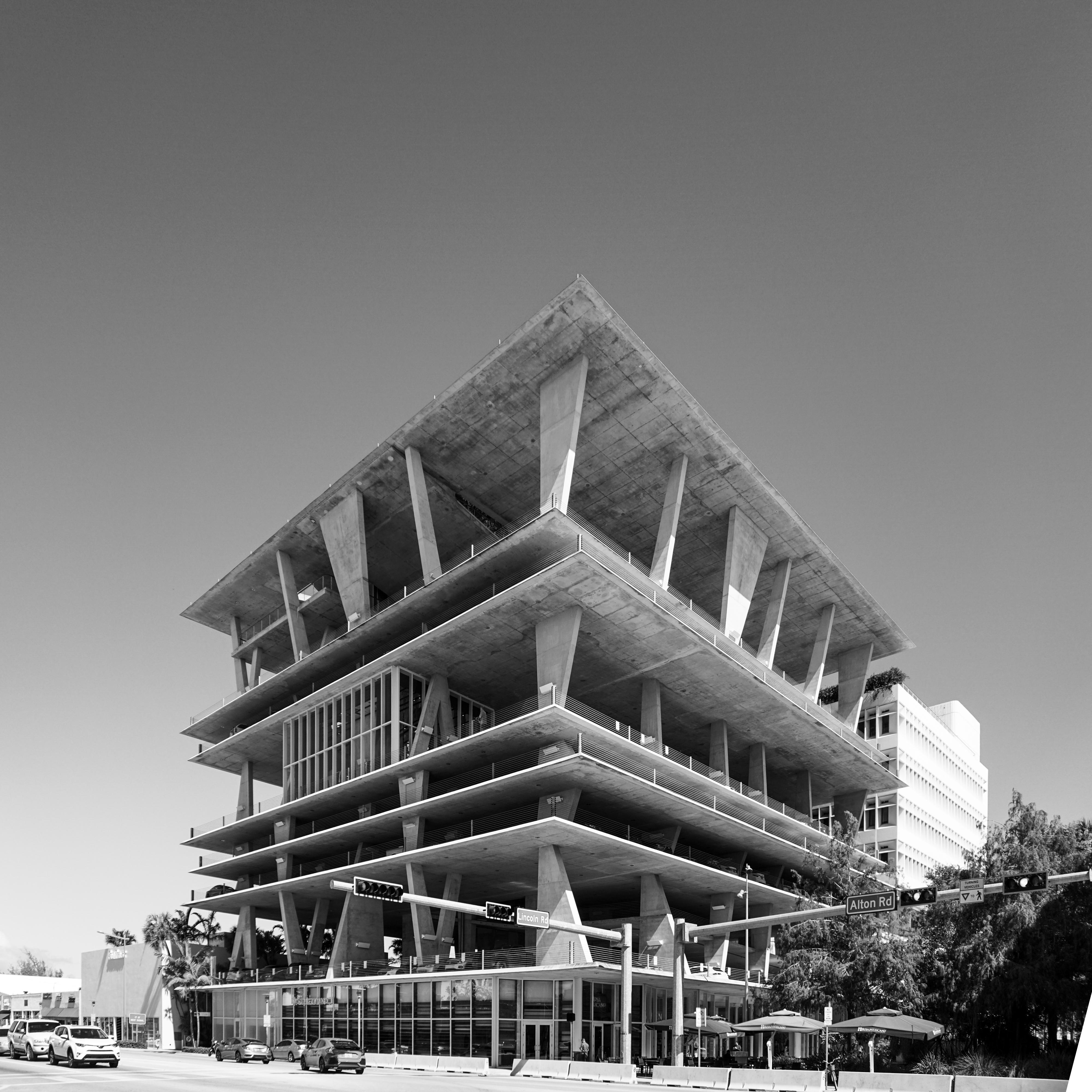 Miami Architecture Building Black And White Monochrome Photography Landmark Structure
