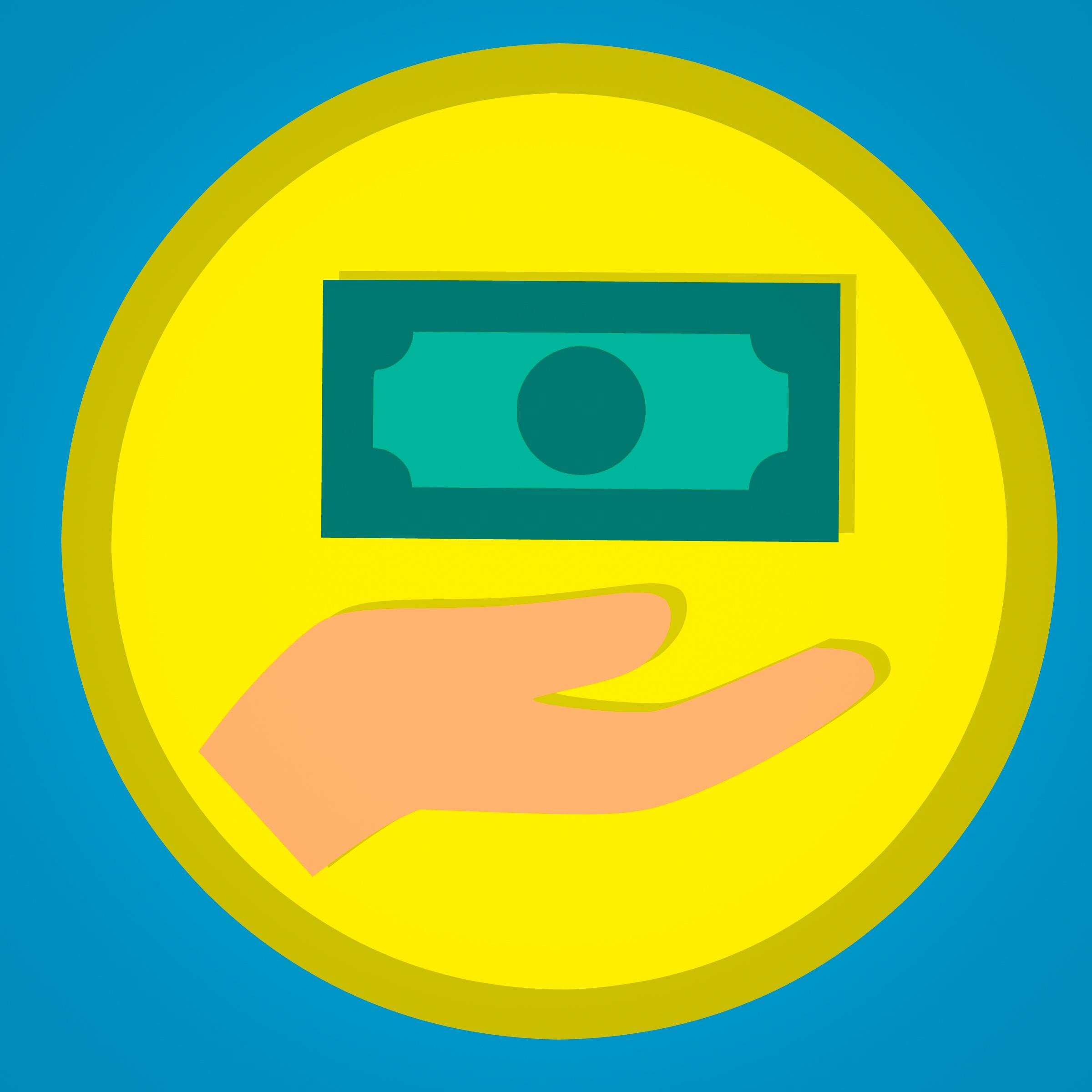 Gambar Icon Dolar Memberi Lencana Kas Perbankan