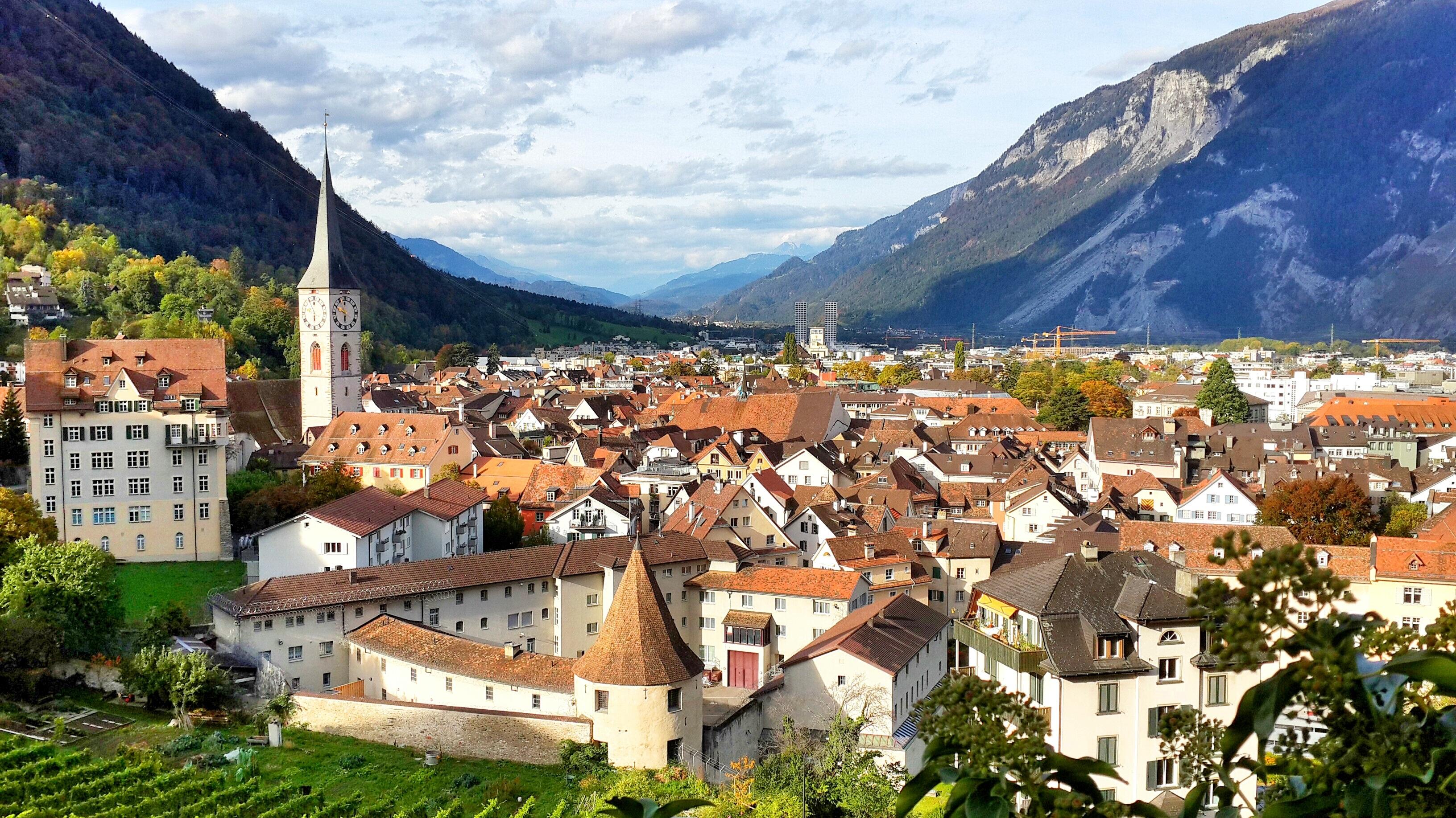 Free Images : valley, mountain range, panorama, village