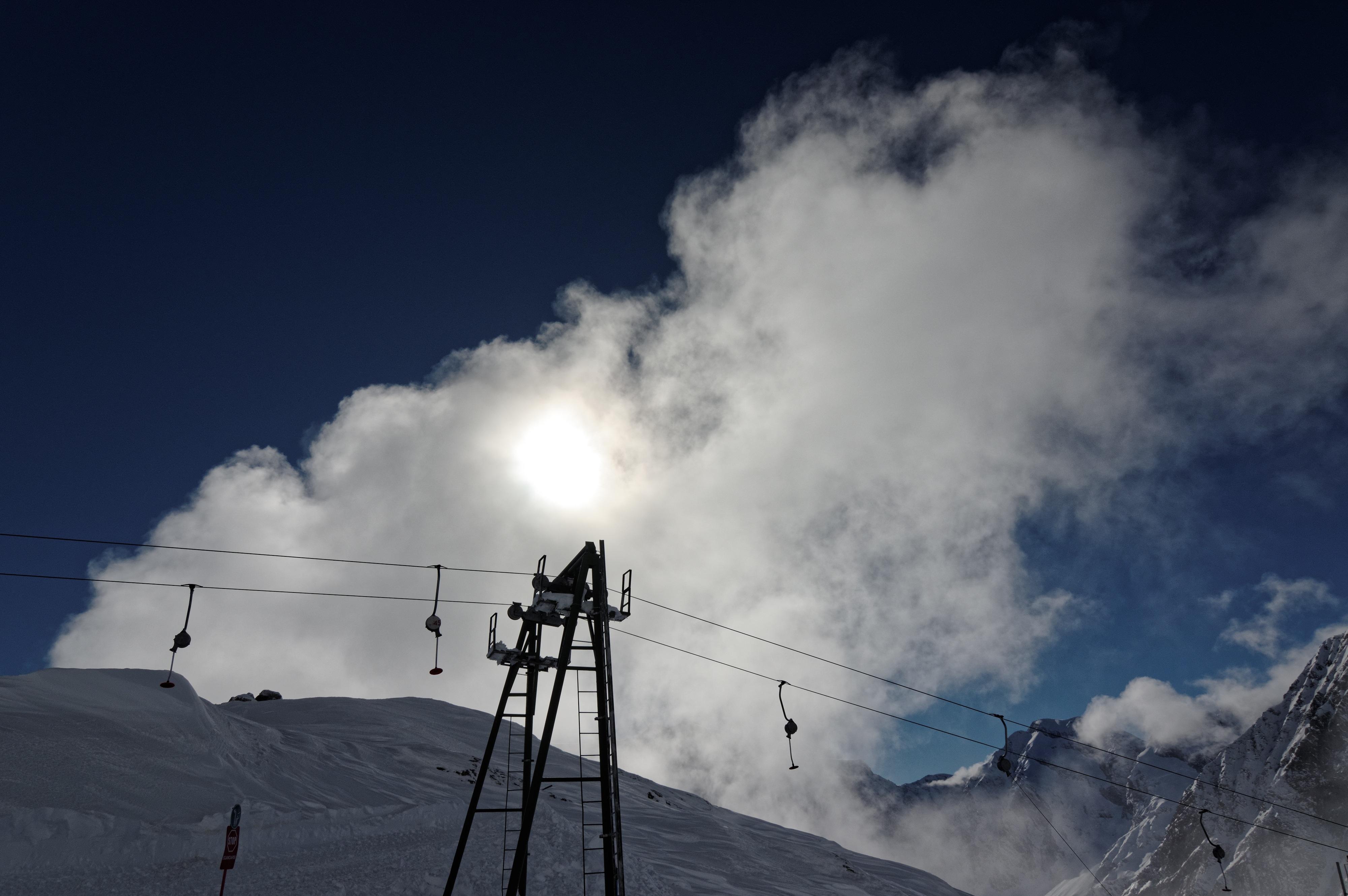 Kostenlose Foto Berg Schnee Winter Wolke Himmel Sonne