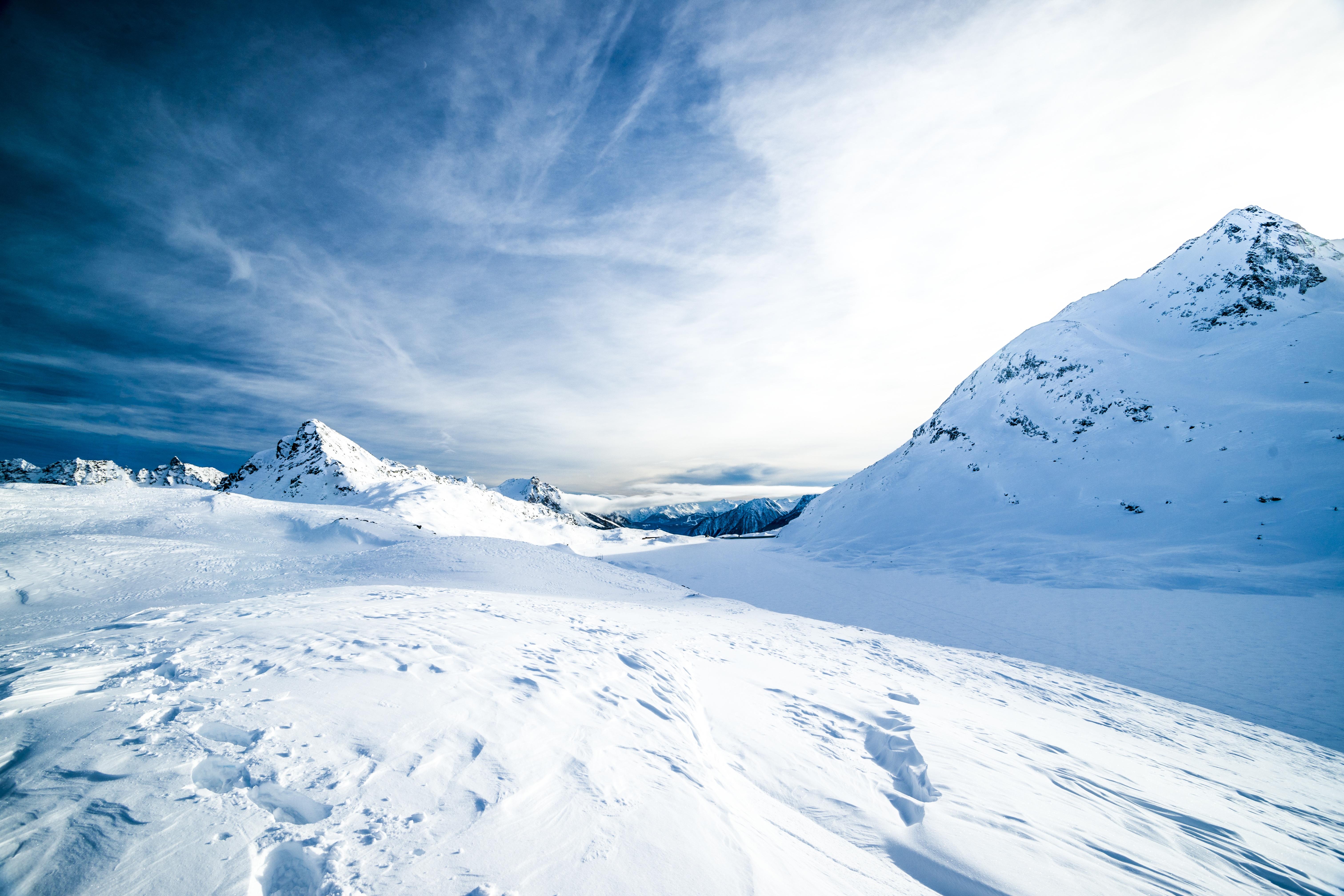 Mountain Snow Winter Cloud White Range Ice Glacier Weather Blue Arctic Season Iceberg Mountains Alps