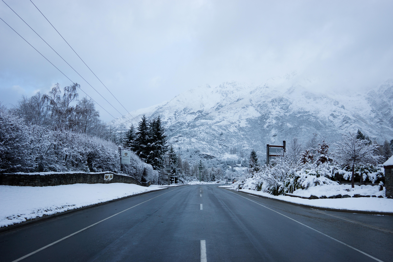 Free Images : snow, winter, road, highway, mountain range ...