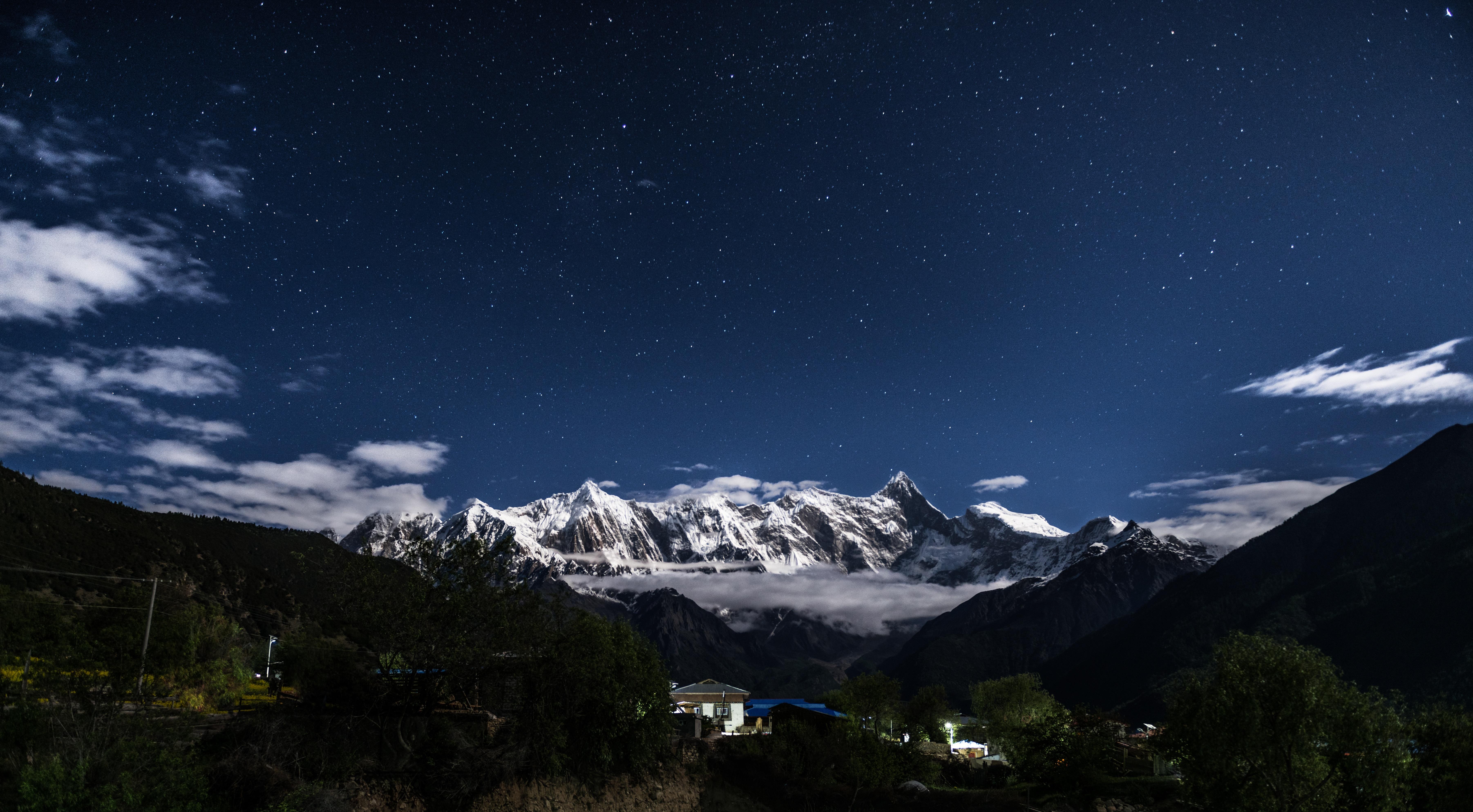 Kostenlose Foto Berg Schnee Winter Himmel Nacht Gebirge