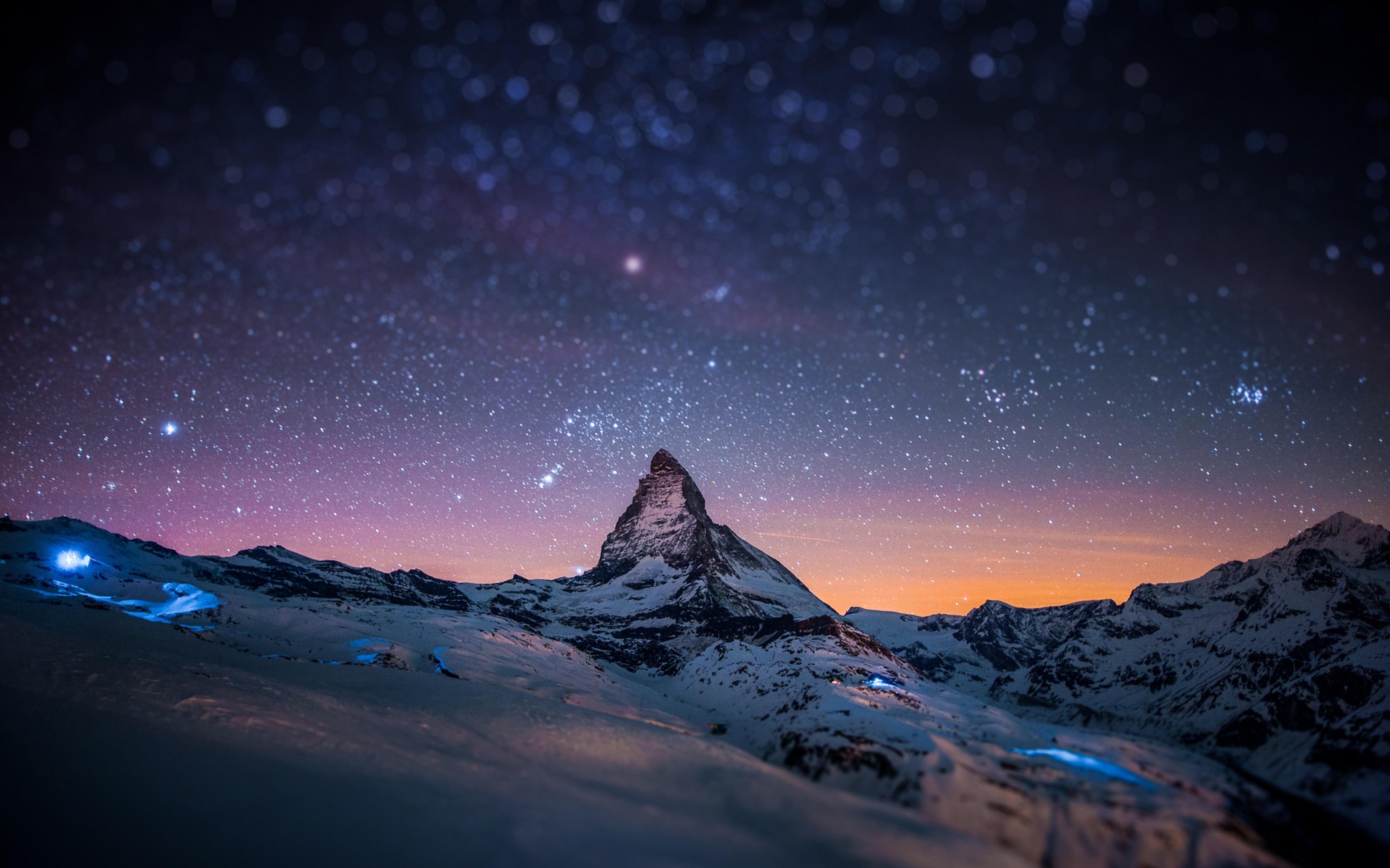 Immagini belle montagna la neve inverno cielo notte for Sfondi desktop inverno montagna