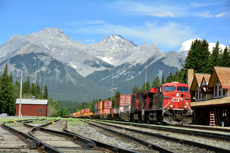 images track railway mountain range transportation vehicle train station platform