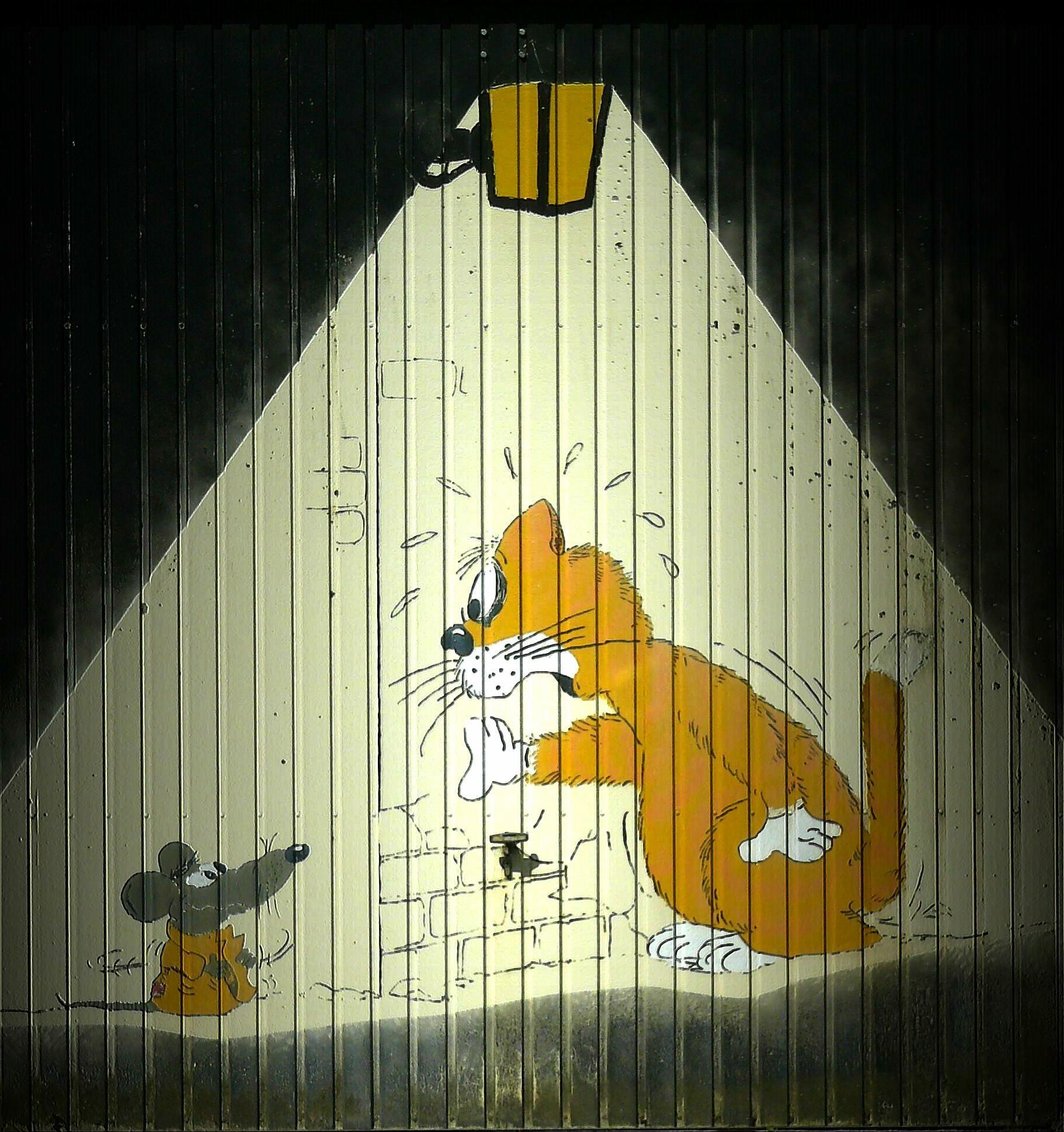 Gambar Mouse Hewan Dinding Kucing Cat Kuning Lukisan Seni