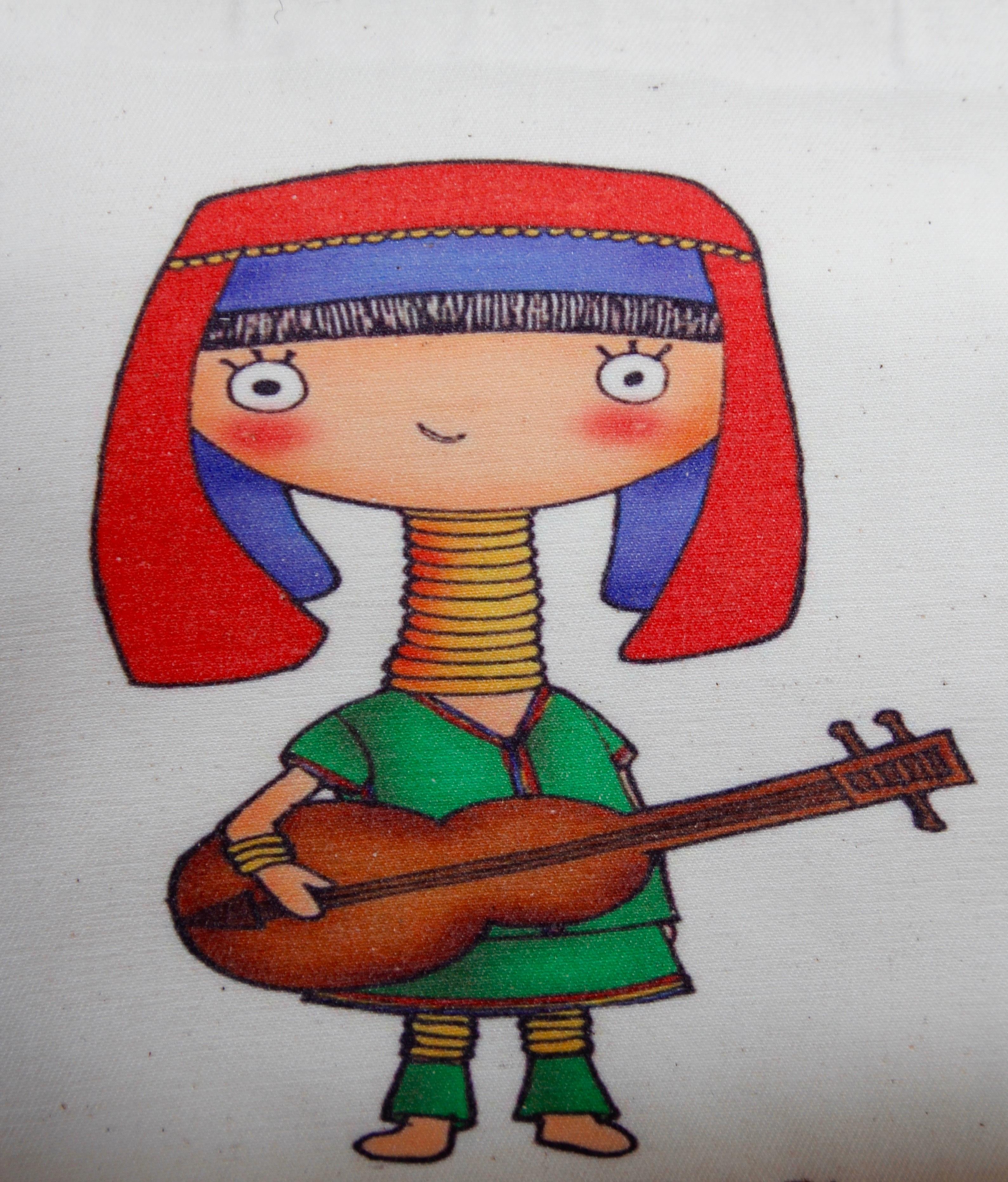Gambar Gadis Gitar Merah Warna Instrumen Mahasiswa Mainan
