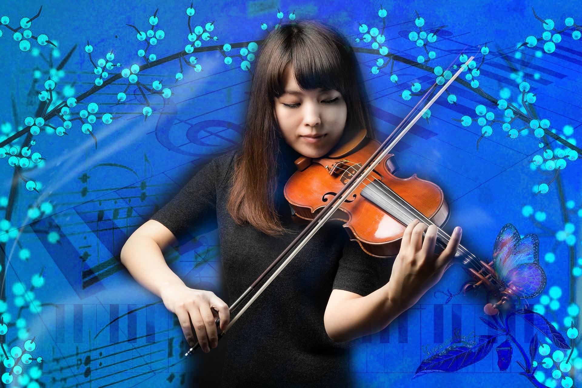Gambar Gadis Pemusik Catatan Alat Musik Rambut Hitam Gambar