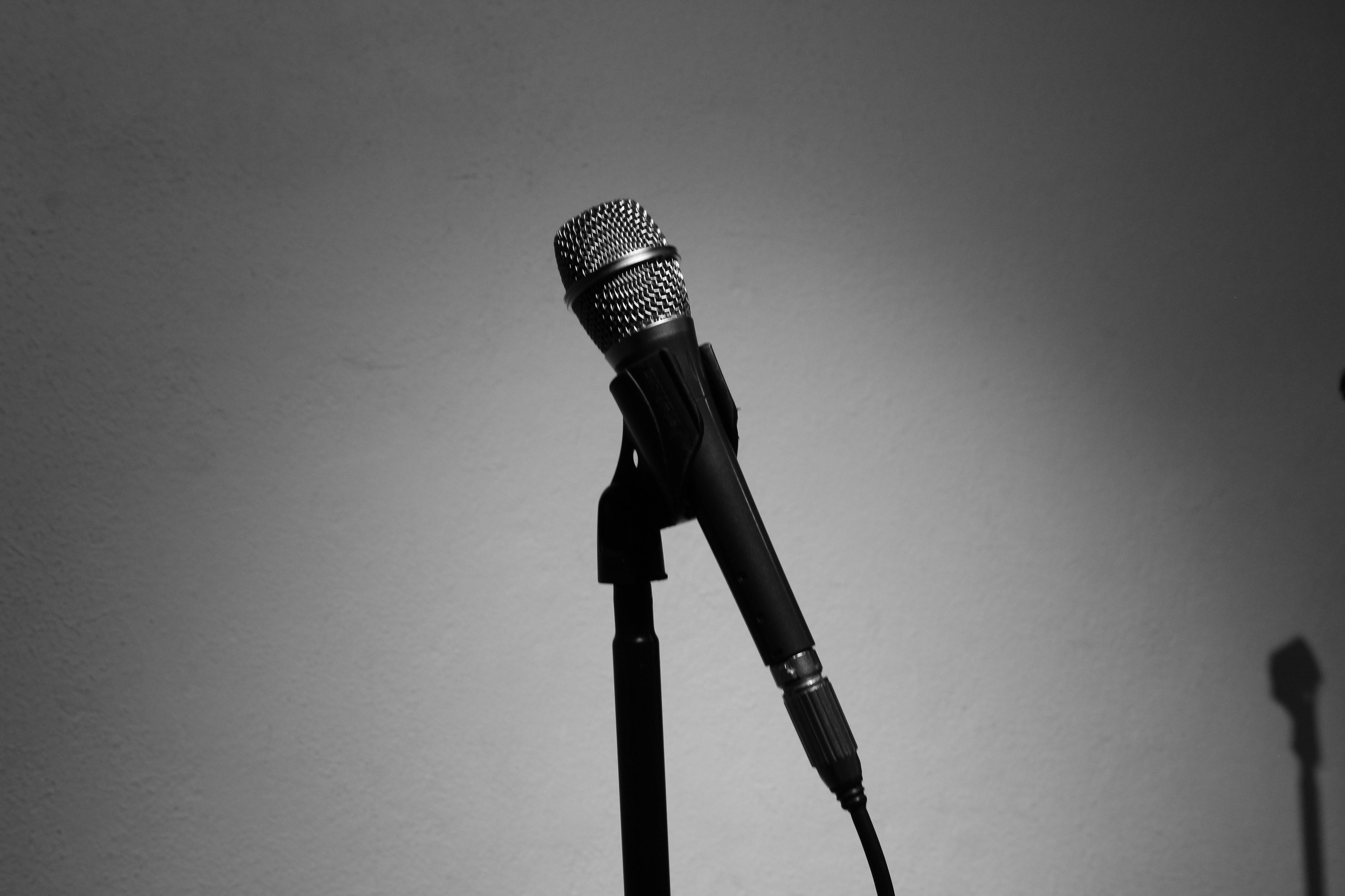 Music Light Black And White Photography Microphone Recording Studio Darkness Monochrome Lighting Art Singing