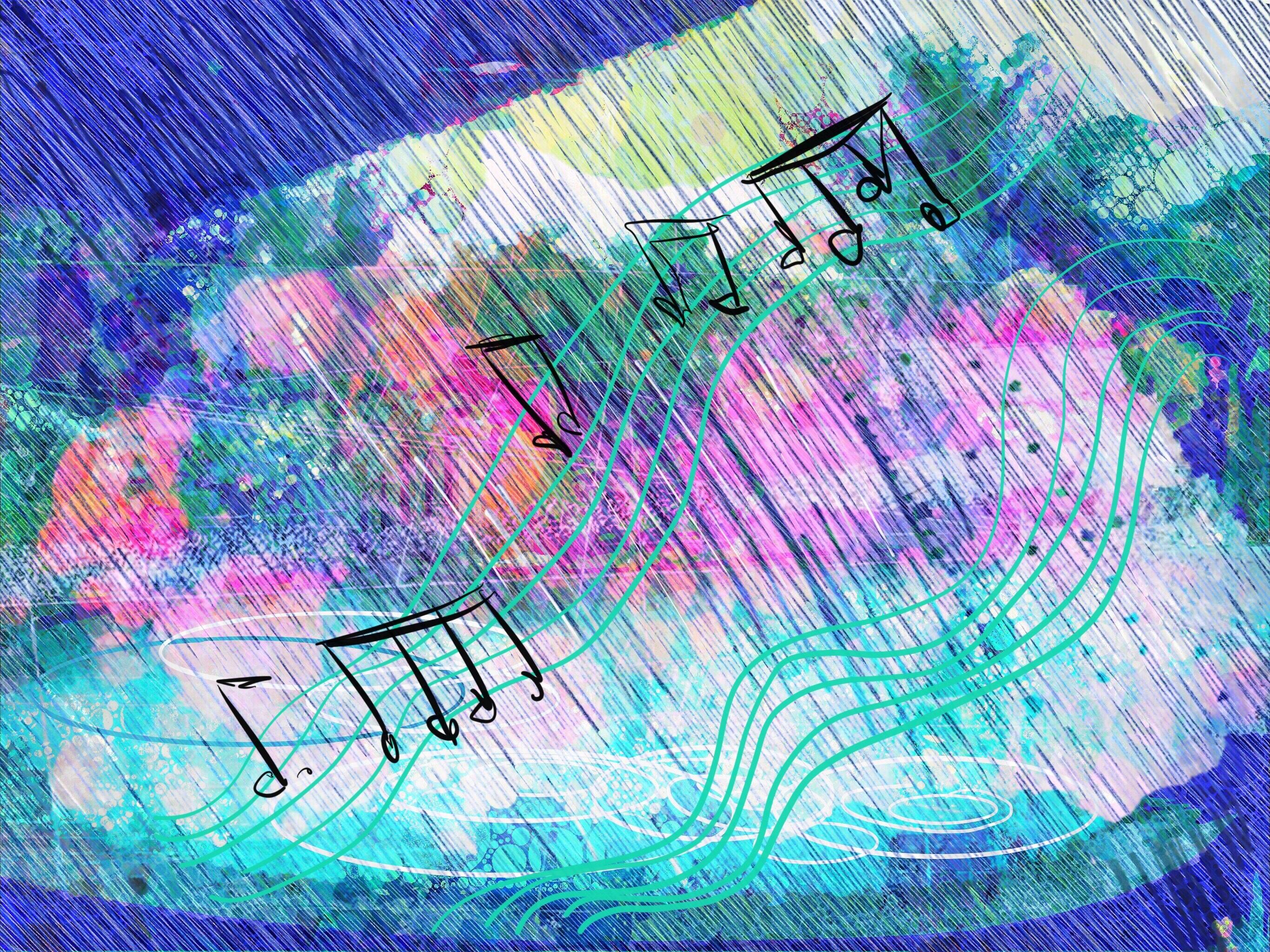 Gambar Musik Perjalanan Pola Garis Warna Biru Lingkaran