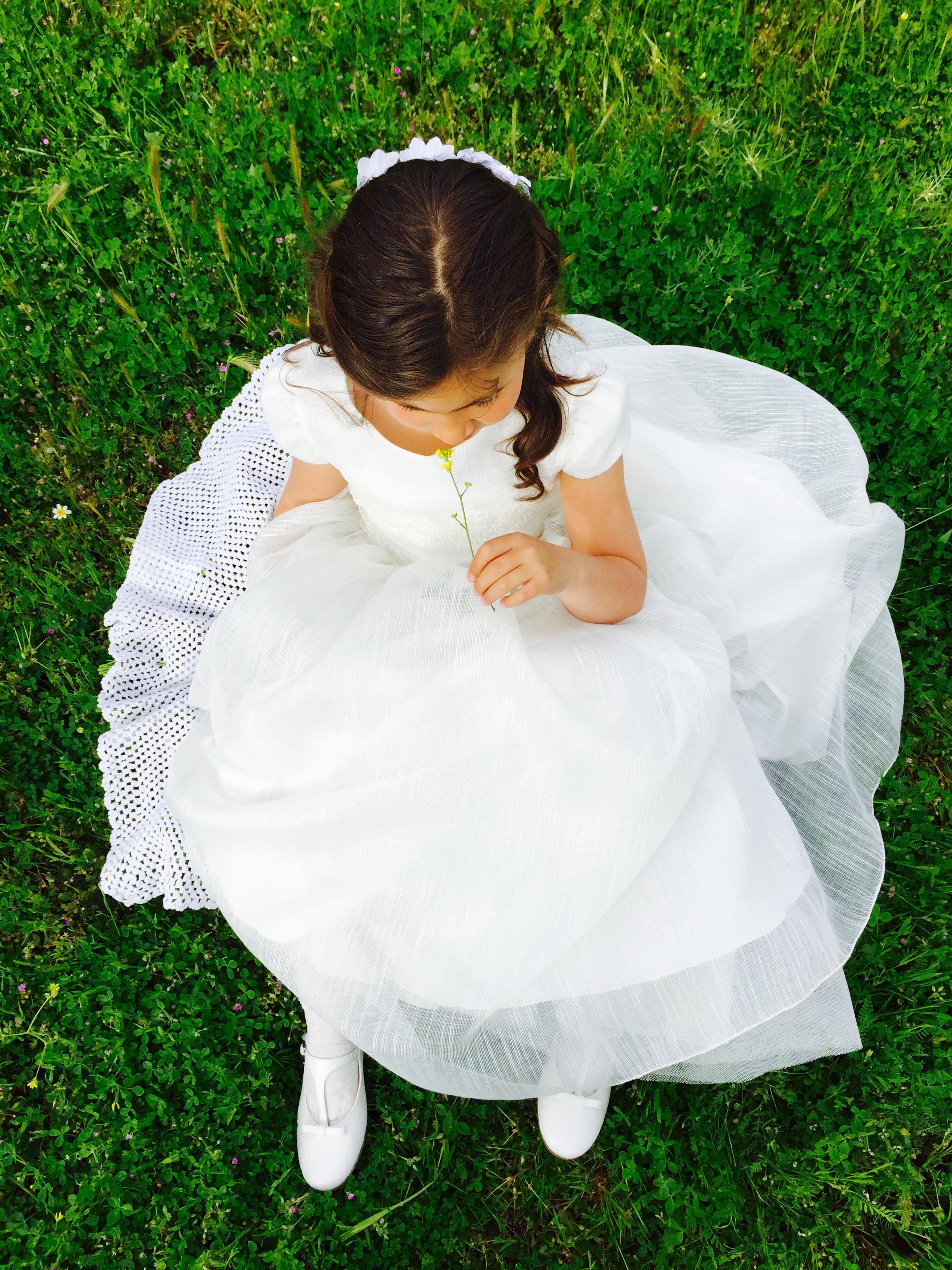 9edf280bd2dd príroda dievča biely kvetina jar sediaci prírodný dieťa nevesta šaty batoľa  kostým spoločenstvo ľudských pozície