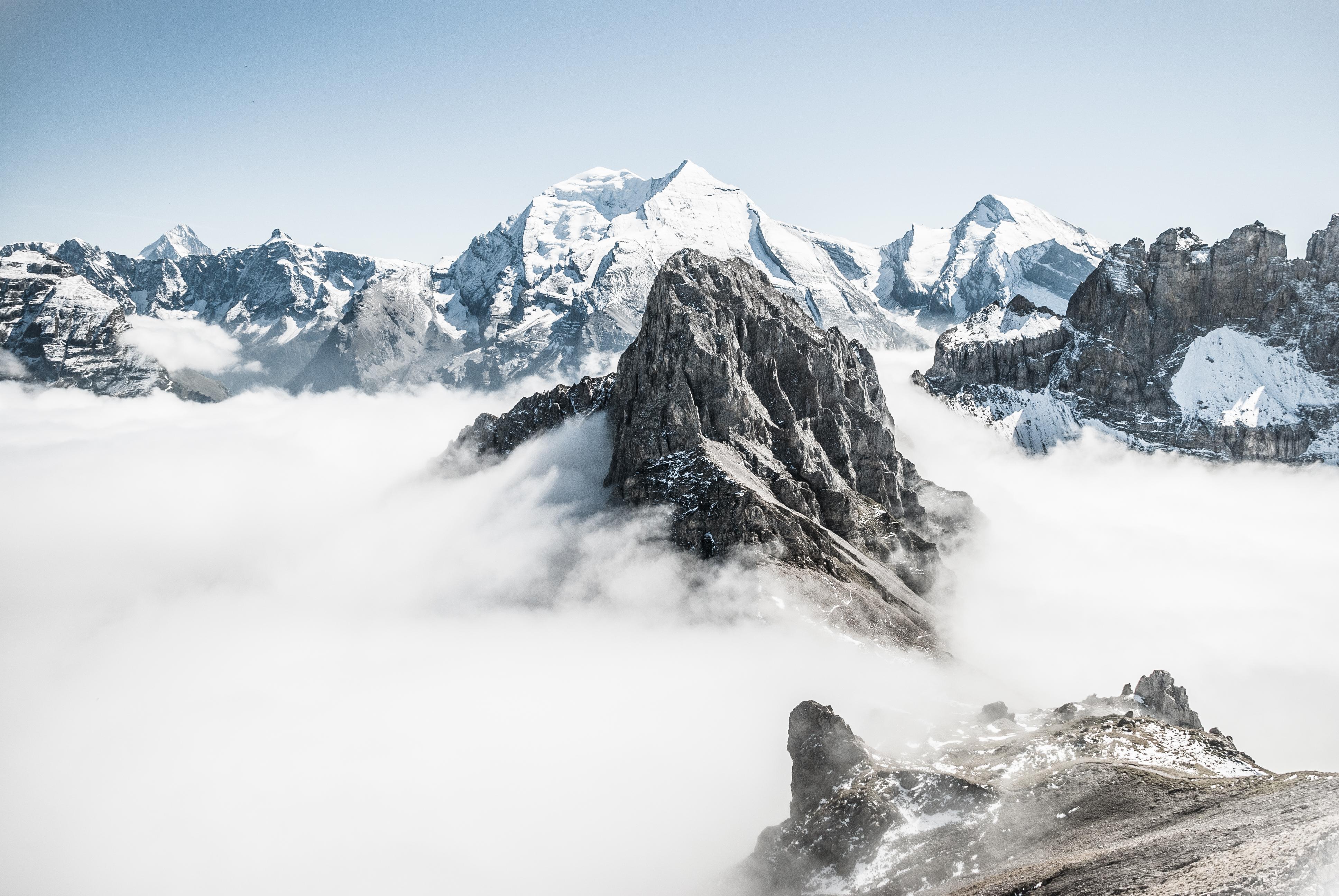 Kostenlose Foto Natur Berg Schnee Winter Gebirge Wetter Meer