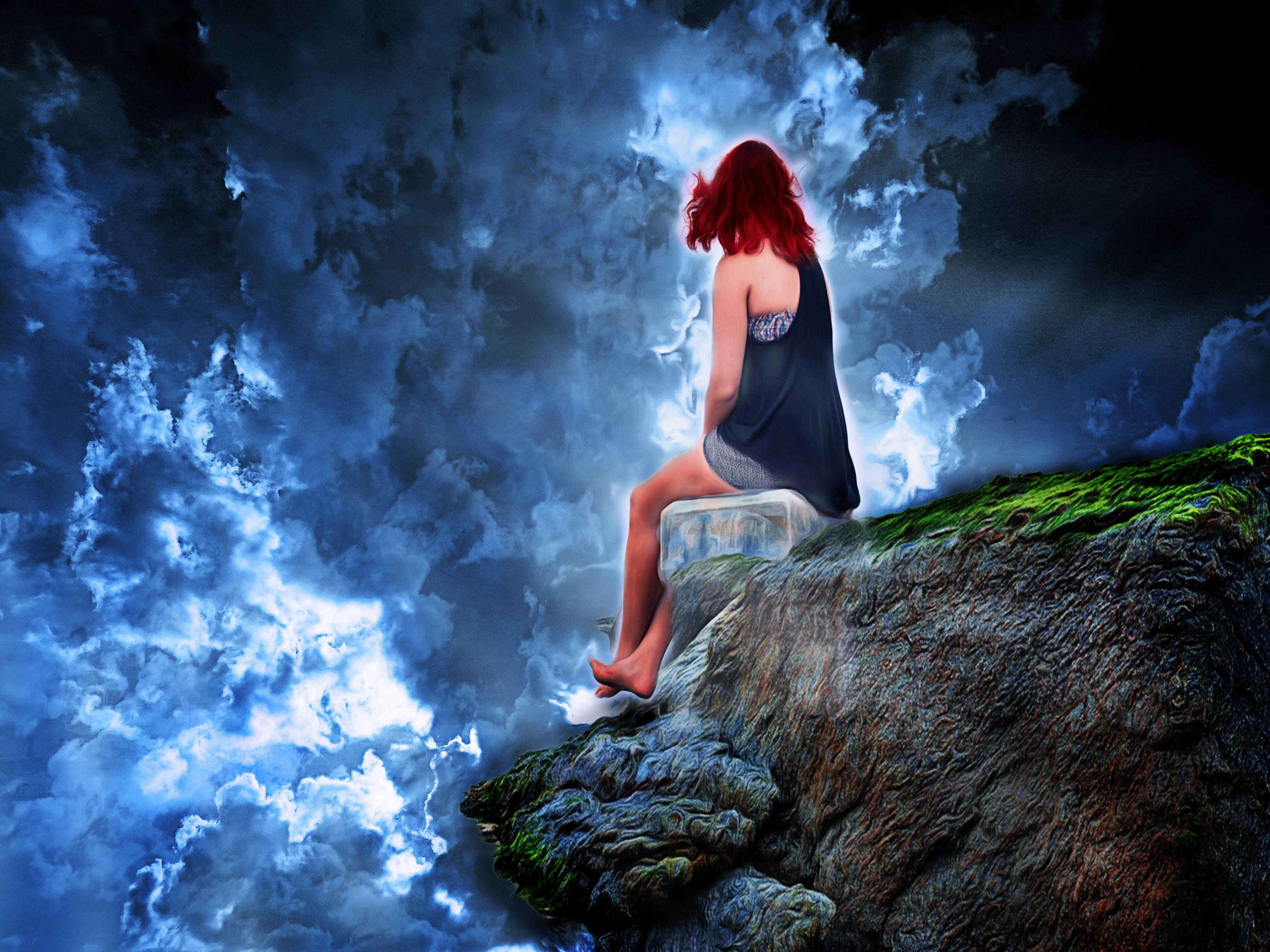 Free images nature rock sky woman darkness blue - Fantasy wallpaper digital art ...