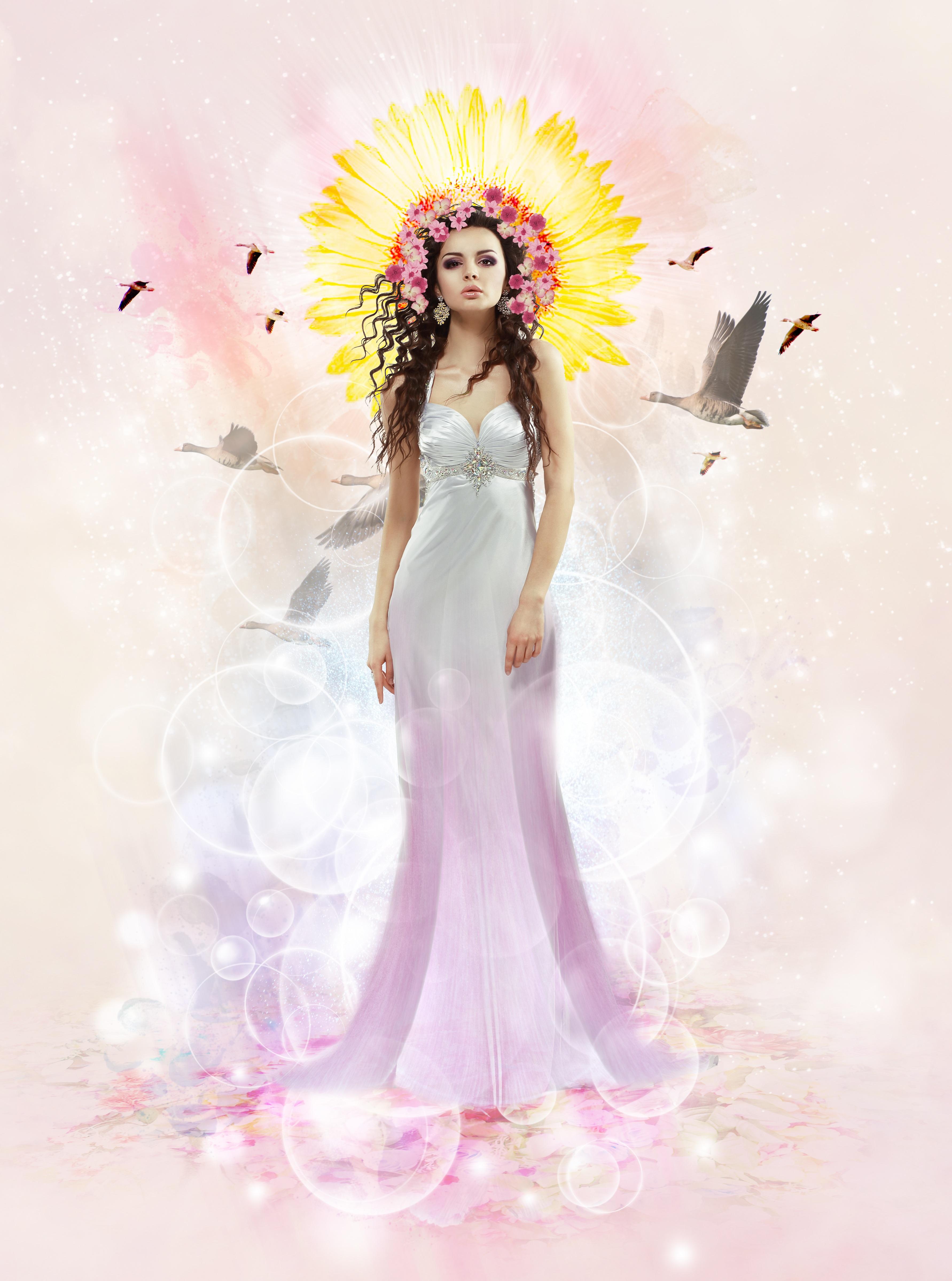 Gambar Alam Wanita Musim Panas Gaun Pengantin Mainan Bunga