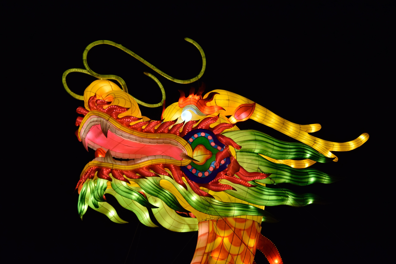 Gambar Malam Cina Merah Lampu Ilustrasi Lentera Naga Organ