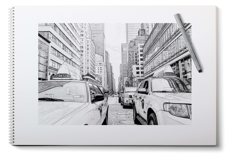 Poze Caiet Creion Alb și Negru New York Taxi Pictură