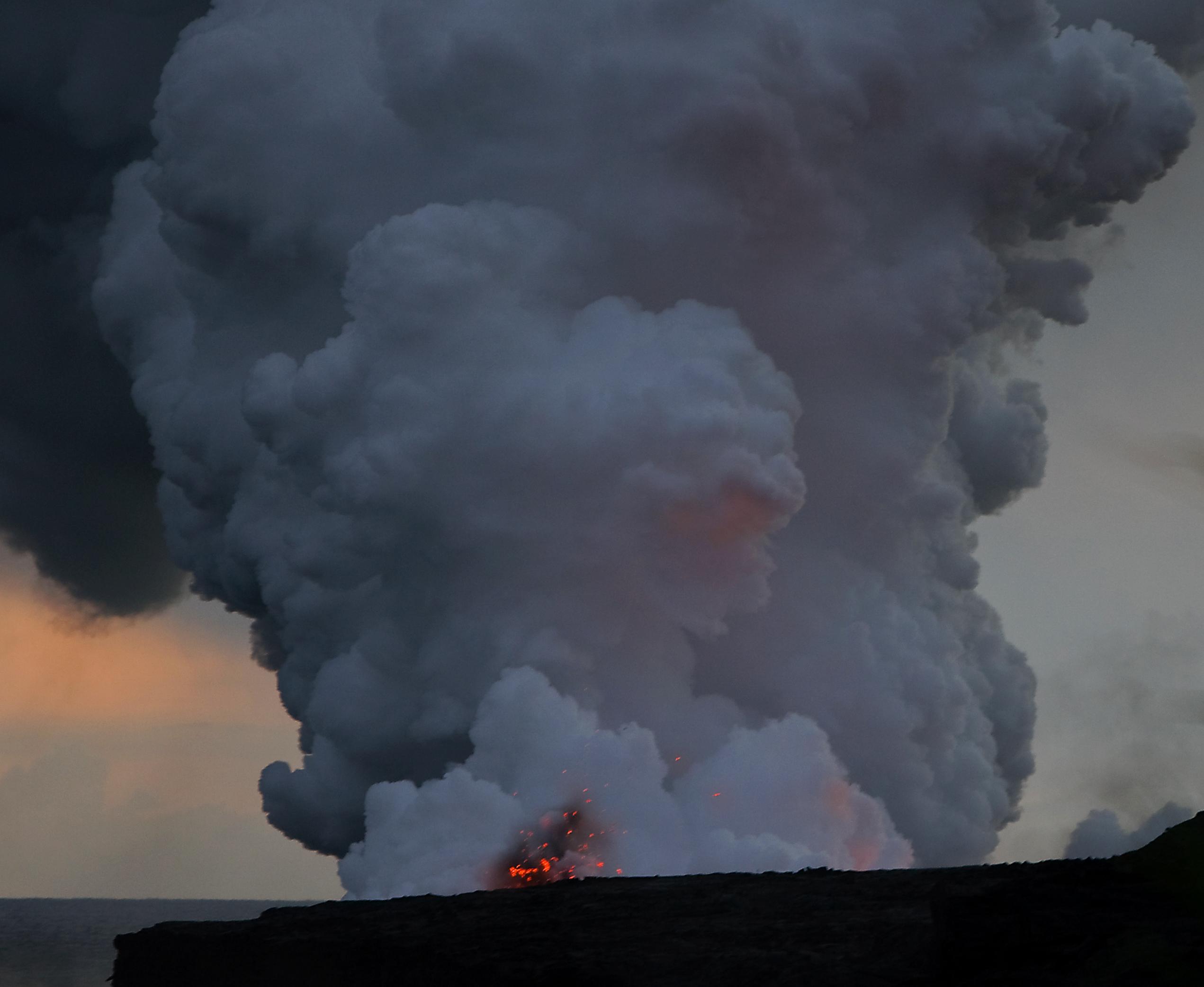 Kostenlose foto : Ozean, Wolke, Dampf, Dämmerung, Vulkan, Hawaii ...