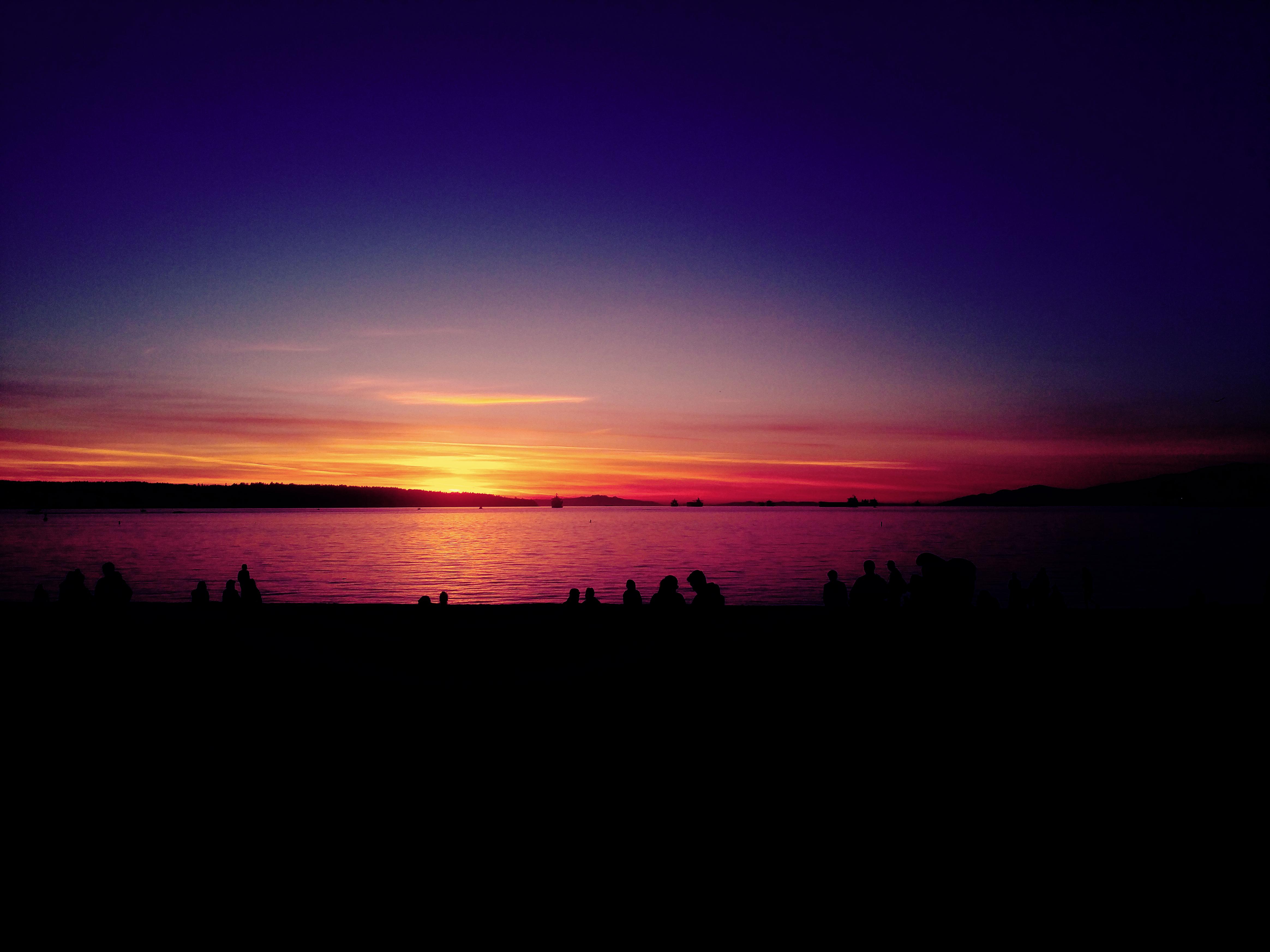 Gambar : lautan, horison, matahari terbenam, perasaan senang