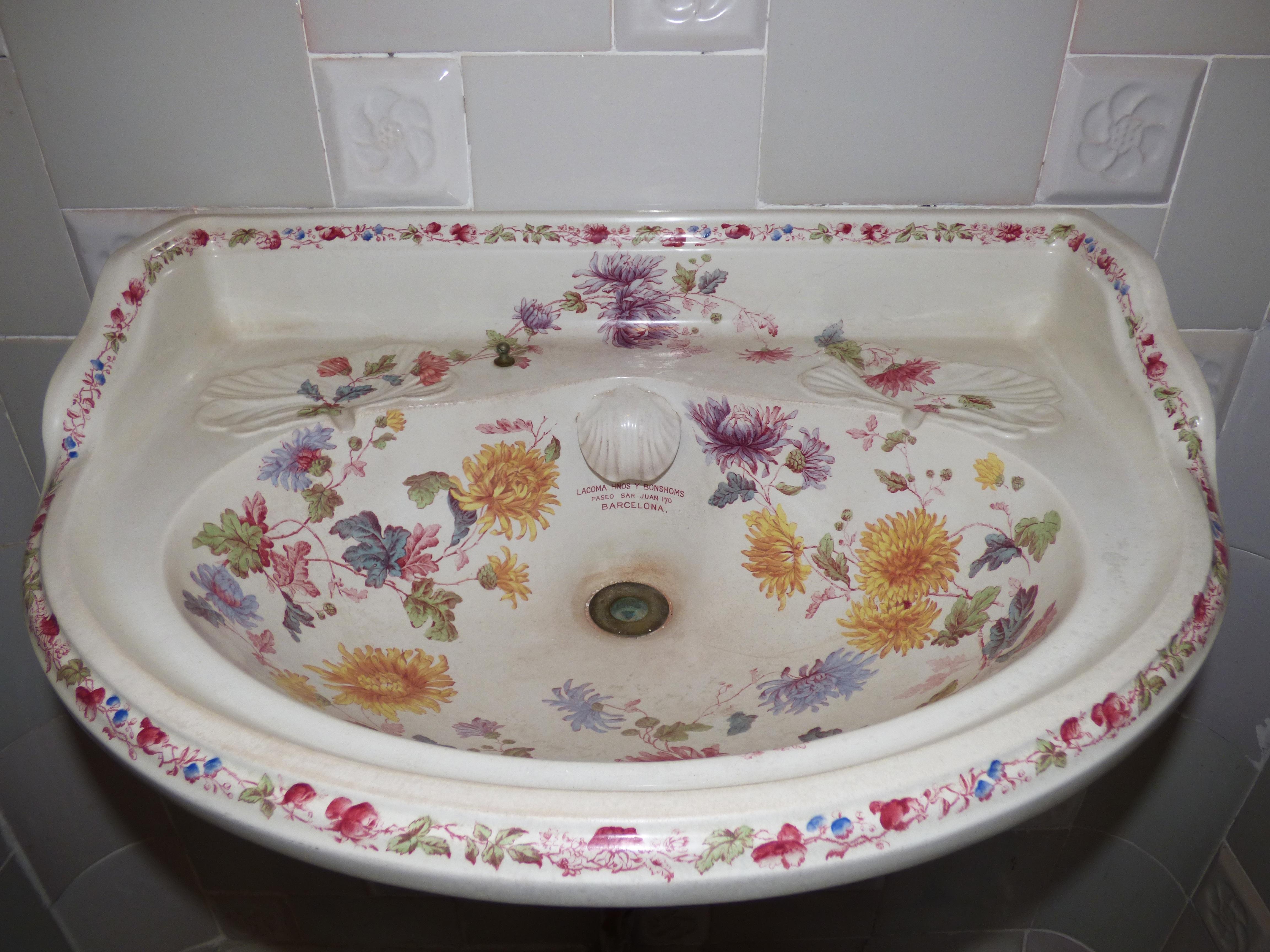 Free Images : old, plate, tile, sink, bathroom, art, tiles ...