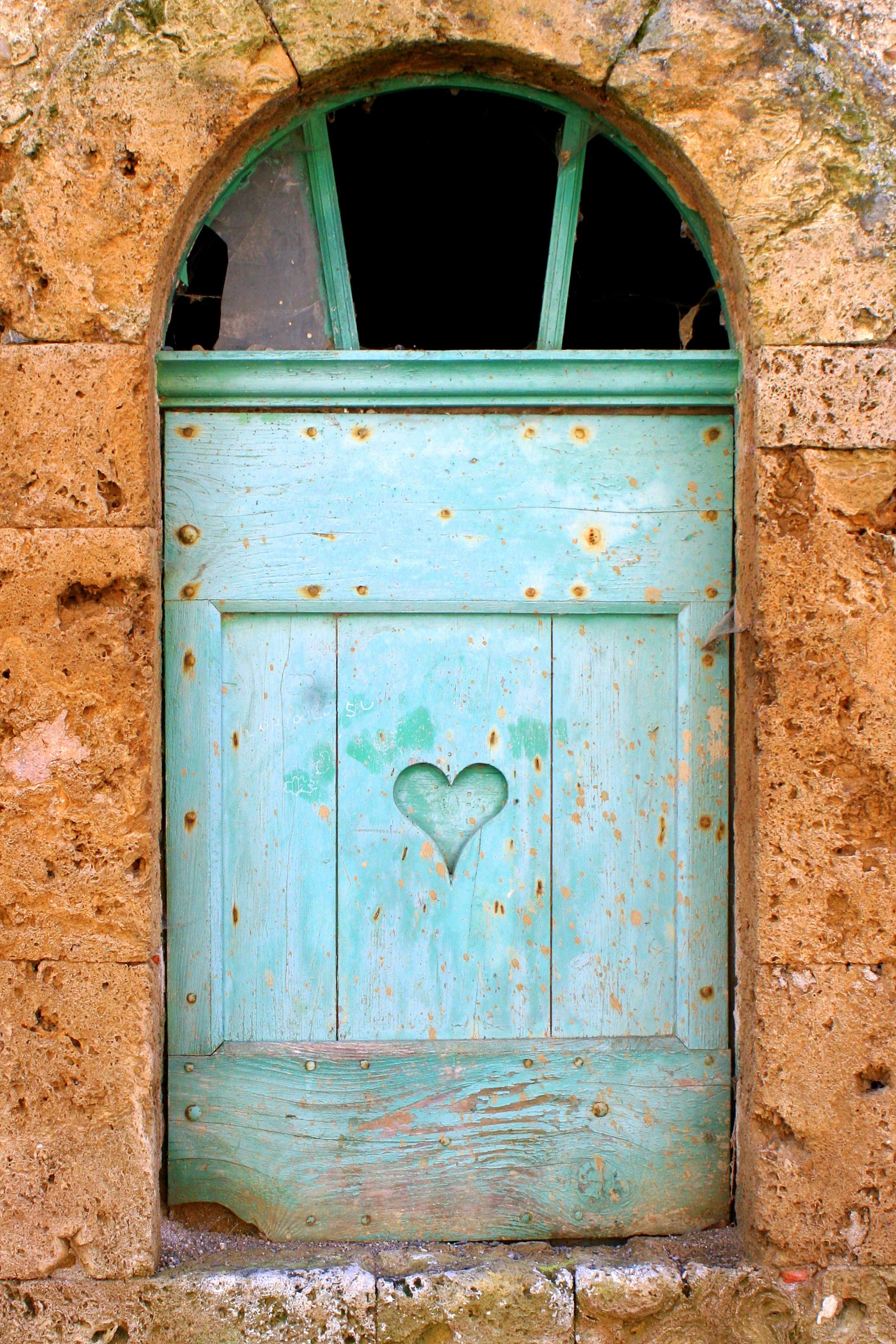Hervorragend ... Rustikal, Dorf, Frankreich, Europa, Bogen, Herz, Dekoration,  Ländlichen, Grün, Farbe, Fassade, Blau, Außen, Ziegel, Tür, Verschluss,  Verwittert, Türkis, ...