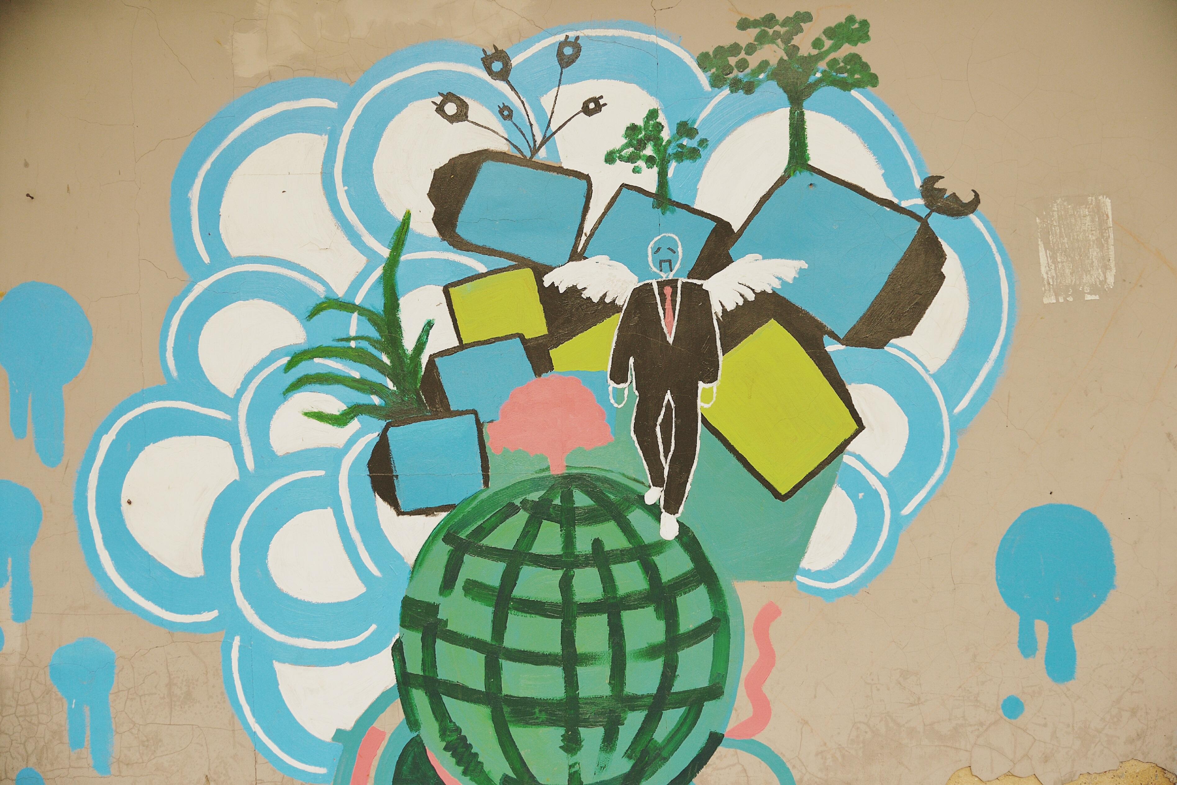 Gambar Pola Sketsa Ilustrasi Desain Lukisan Dinding Gambar