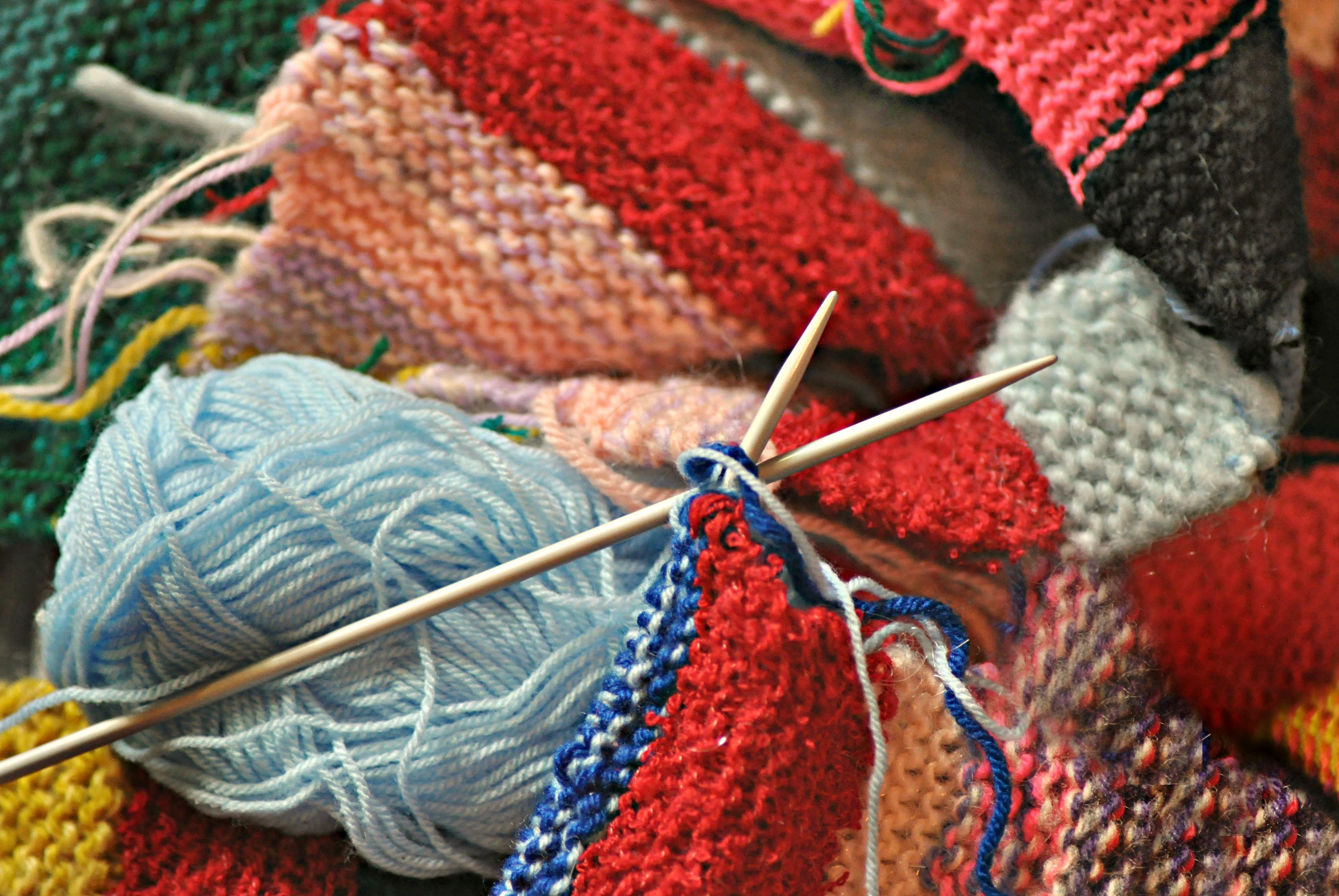 free images pattern blue yellow knit pink yarn